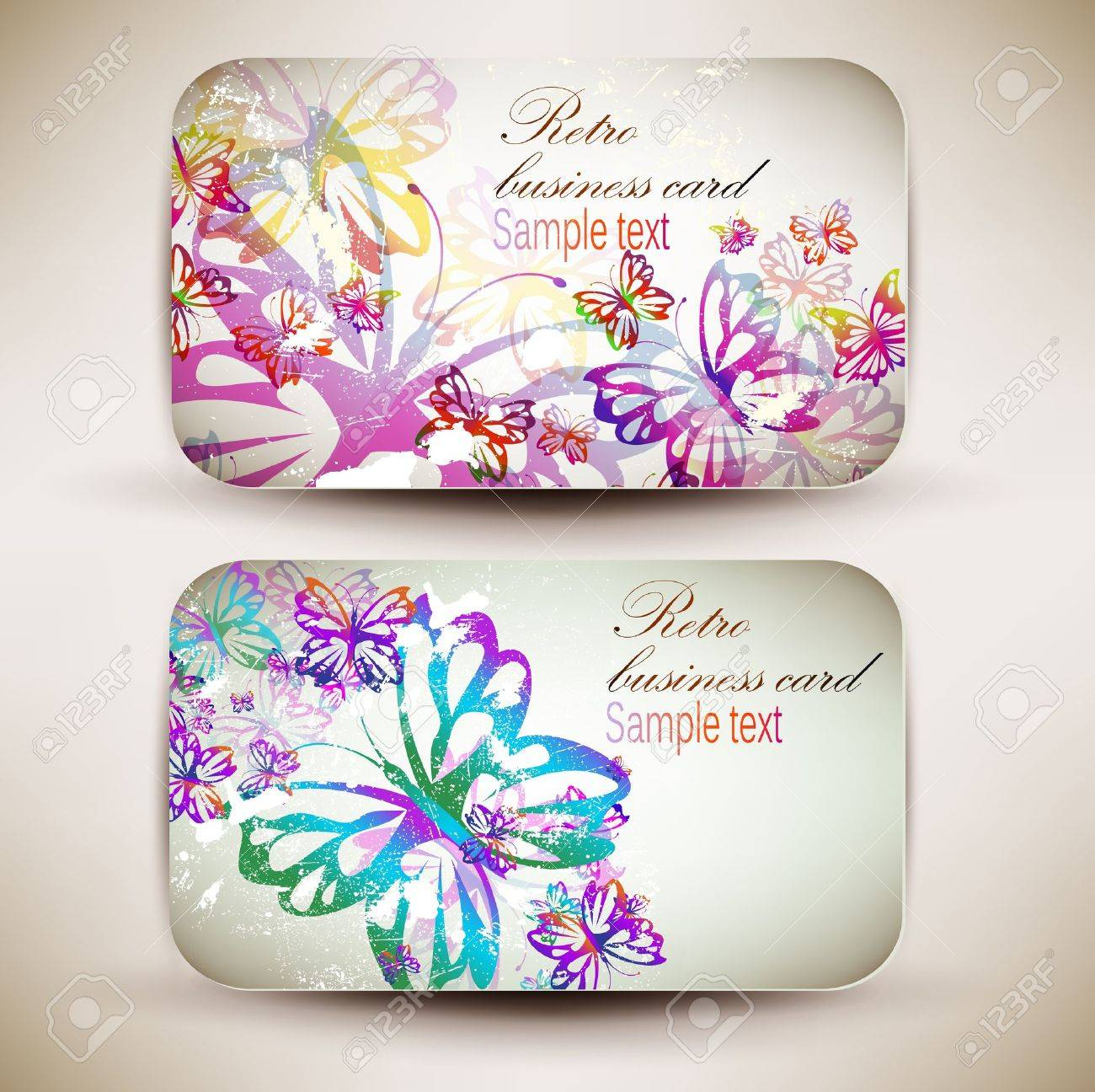 Vintage Business-Card Set With Butterfly Designed In The Same ...
