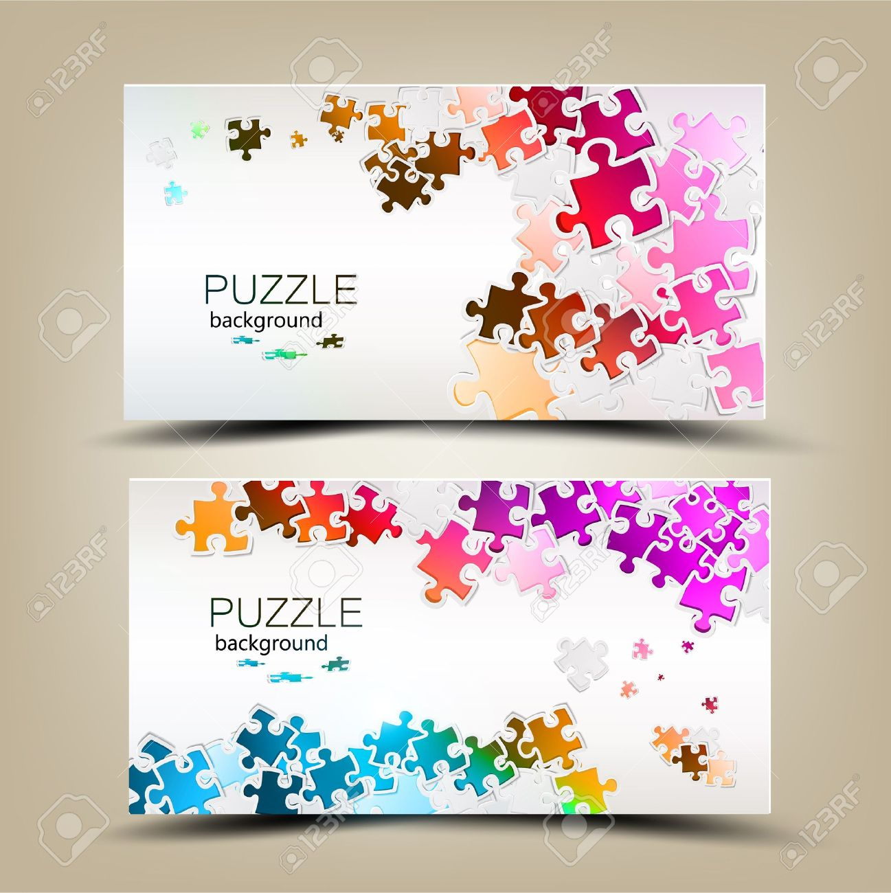 Business cards with mosaic made from puzzle pieces Stock Vector - 14960281