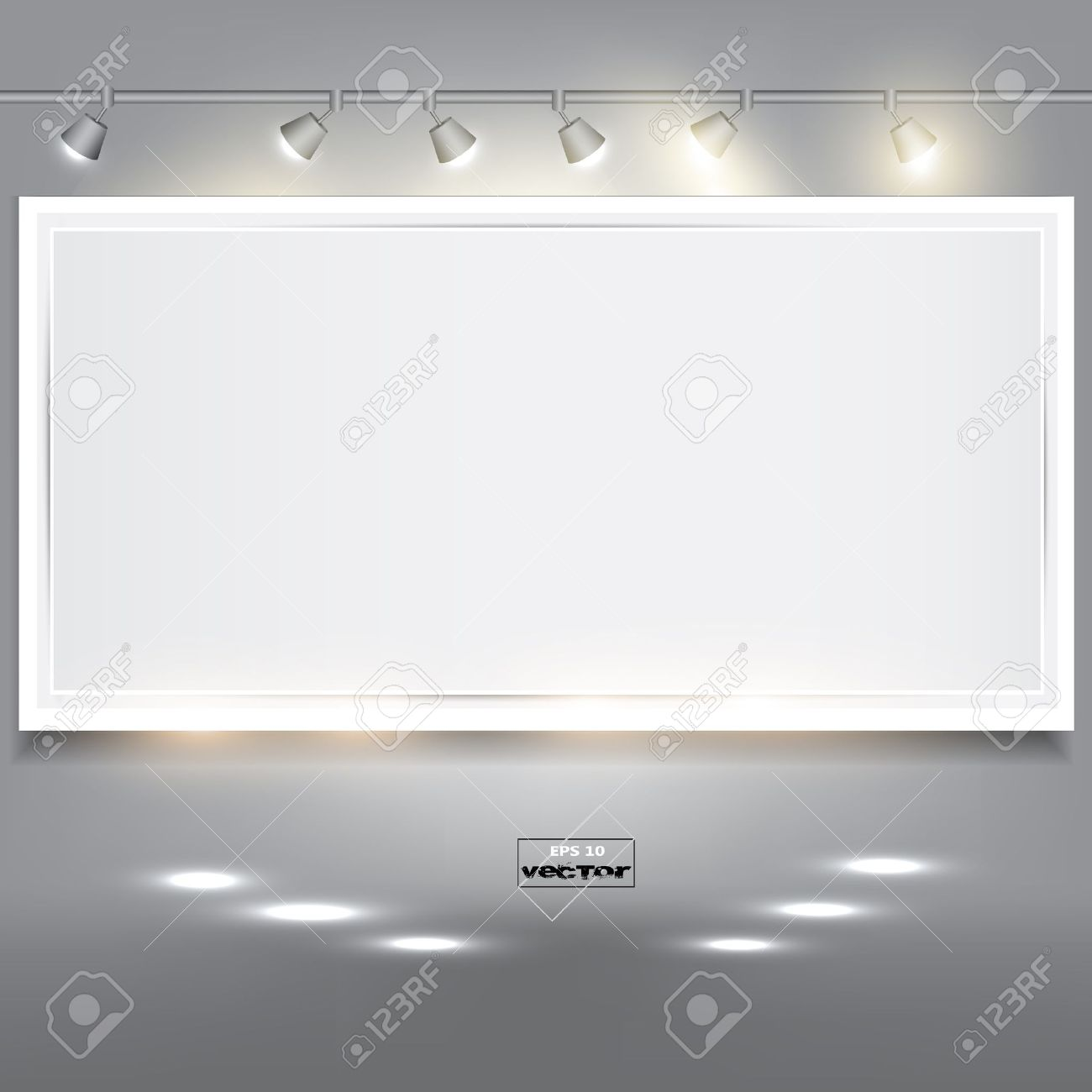 Empty white banner for product advertising with lighting Stock Vector - 14960273