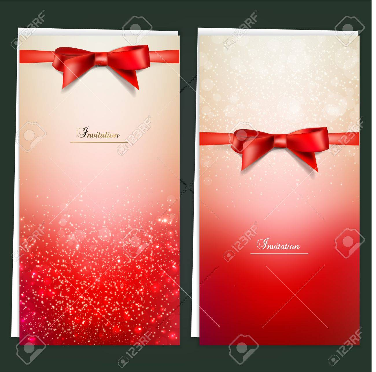 Elegant greeting cards with red bows and copy space. Stock Vector - 16029004