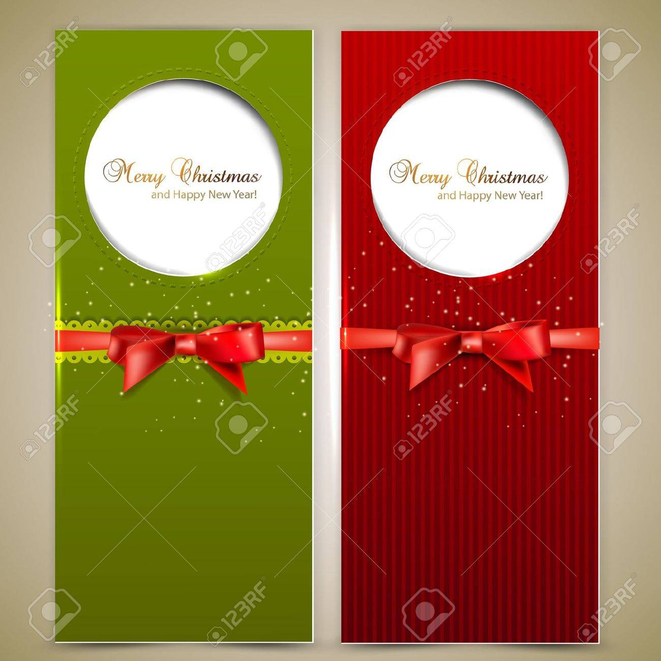 Greeting cards with red bows and copy space. Stock Vector - 16112864