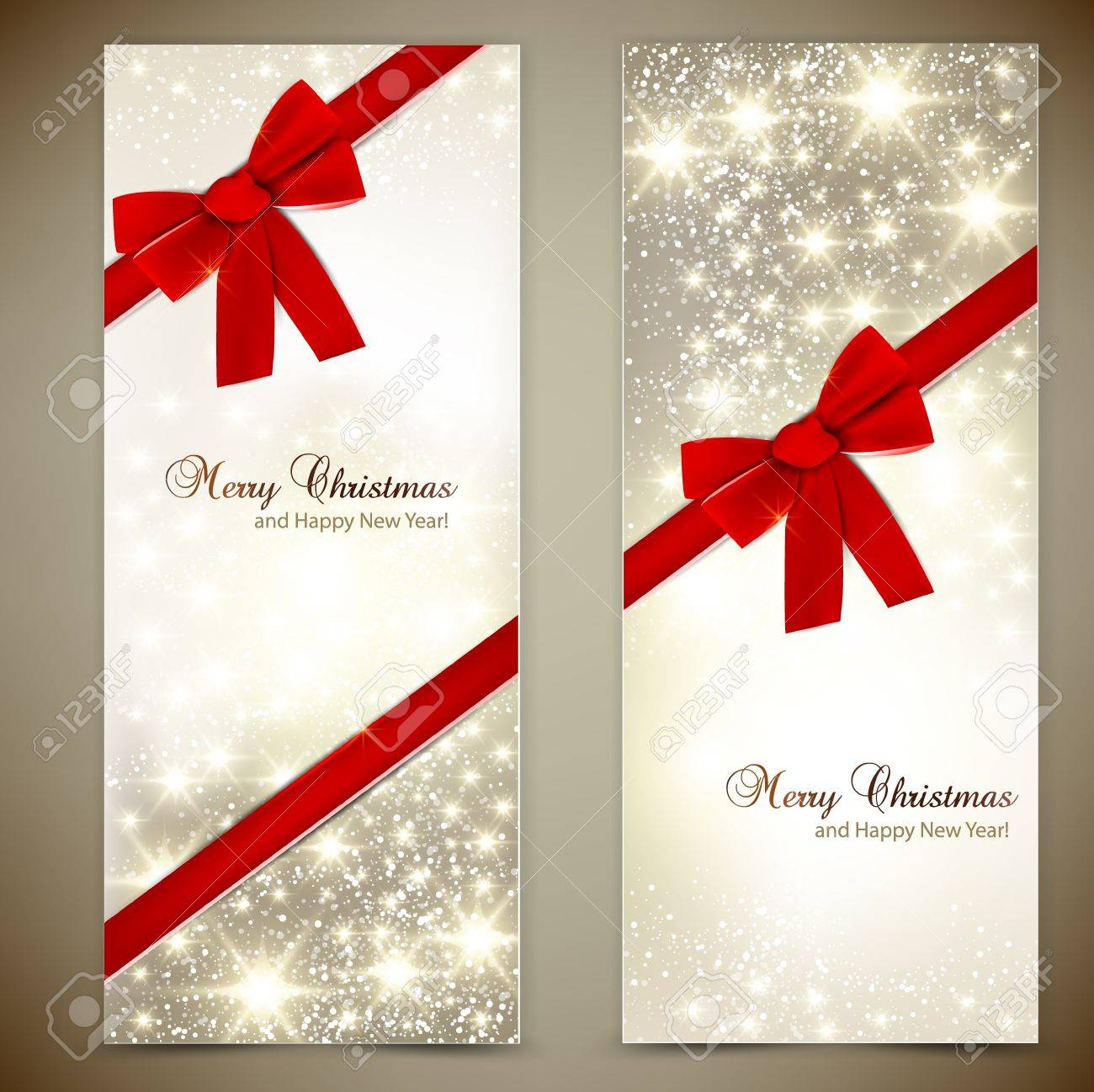 Greeting cards with red bows and copy space. Stock Vector - 16112867