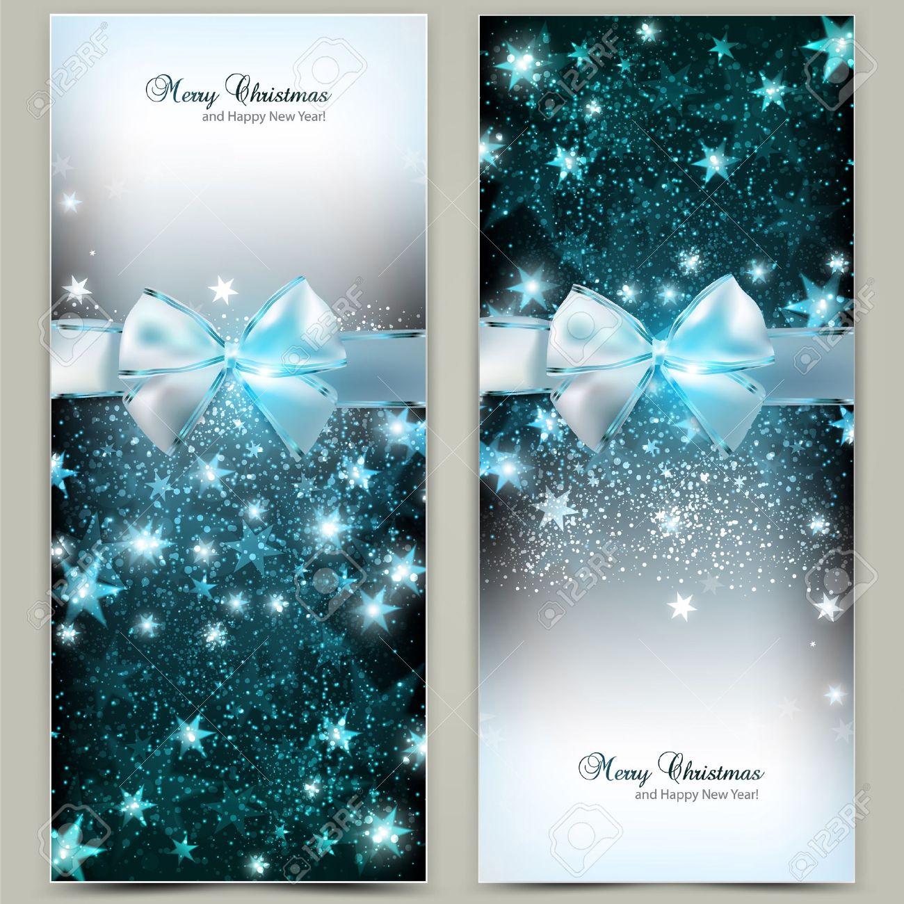 elegante tarjetas de felicitacin de navidad con lazos azules y el lugar para el texto