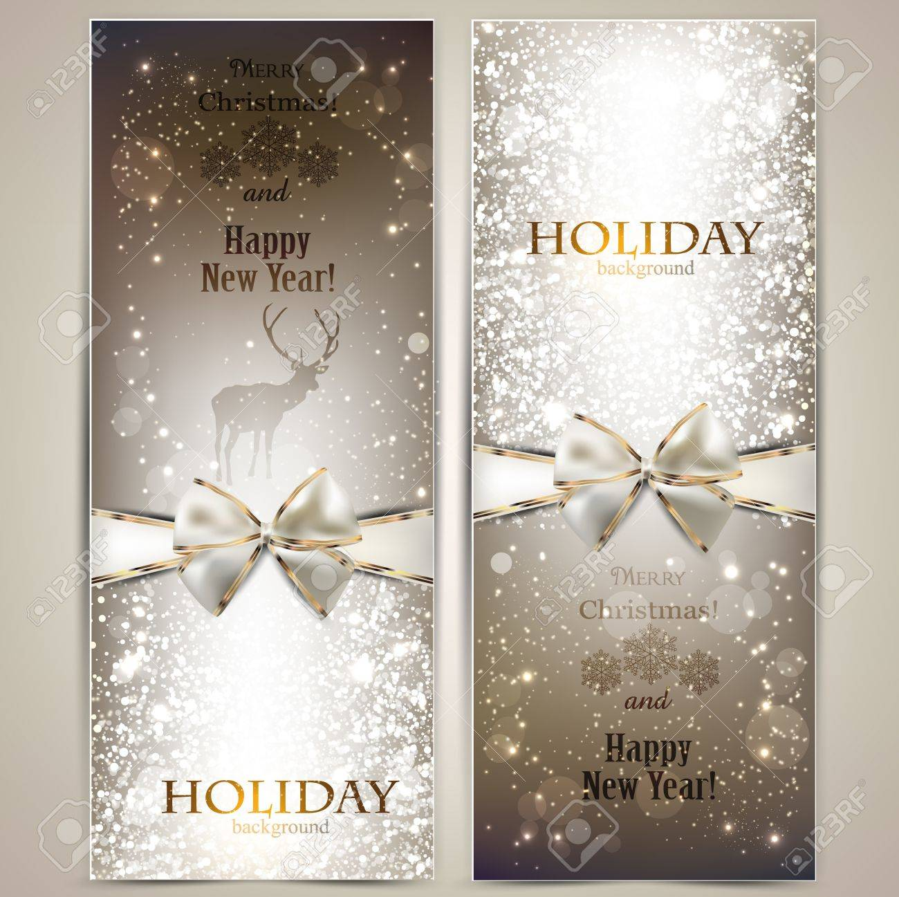 Elegant greeting cards with bows and copy space Stock Vector - 16930659
