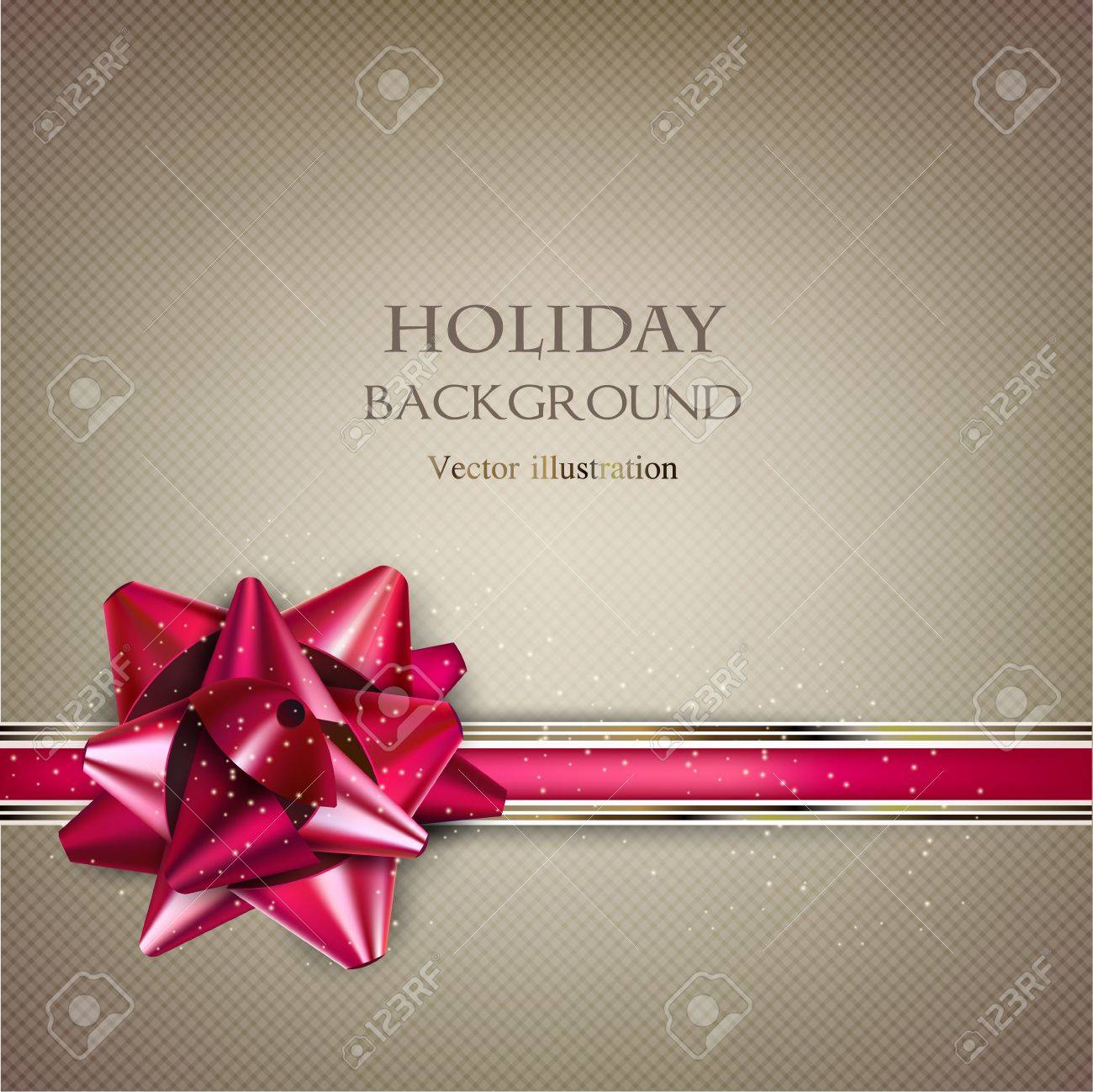 Elegant Holiday background with red bow and place for text. Vector Illustration. Stock Vector - 20988462