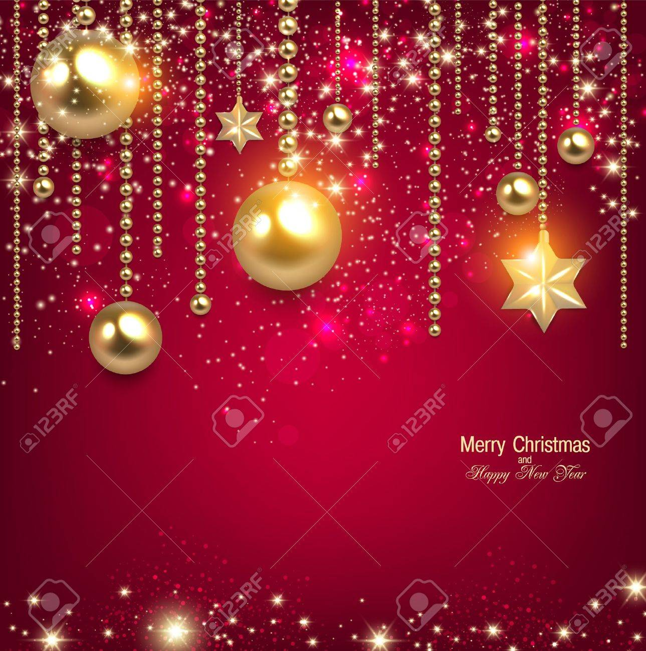 Elegant Christmas Background Hd.Elegant Christmas Background With Golden Baubles And Stars Vector