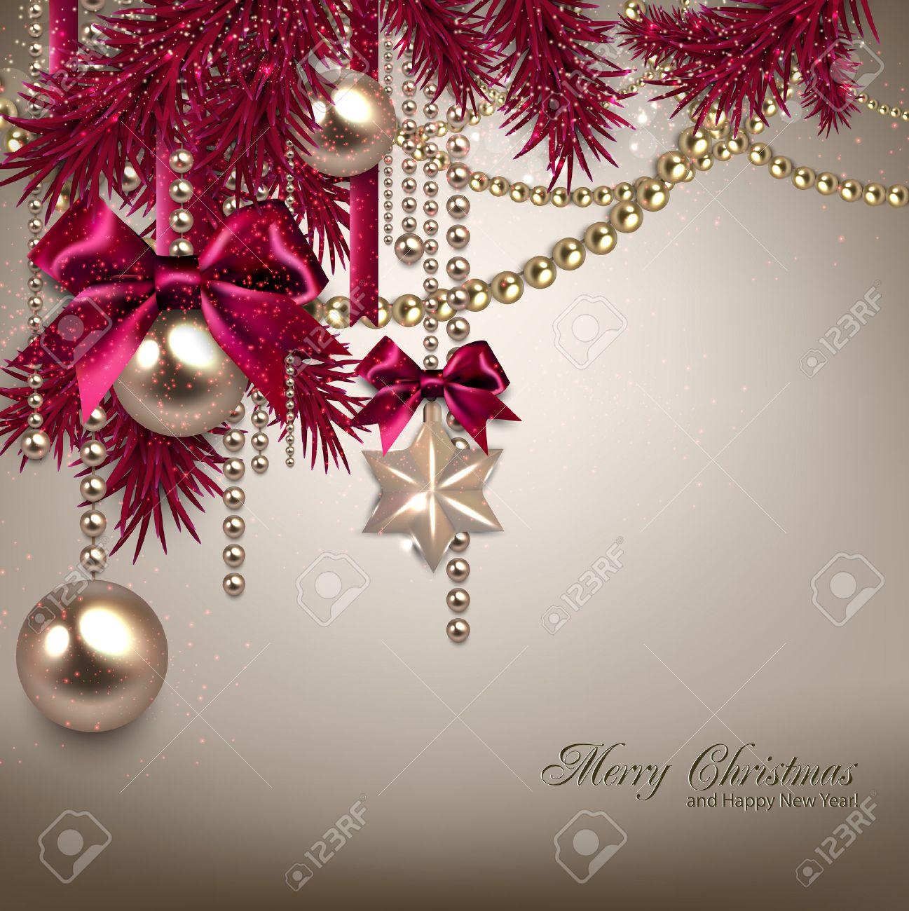Elegant Christmas Background Hd.Elegant Christmas Background With Golden Garland Vector Illustration