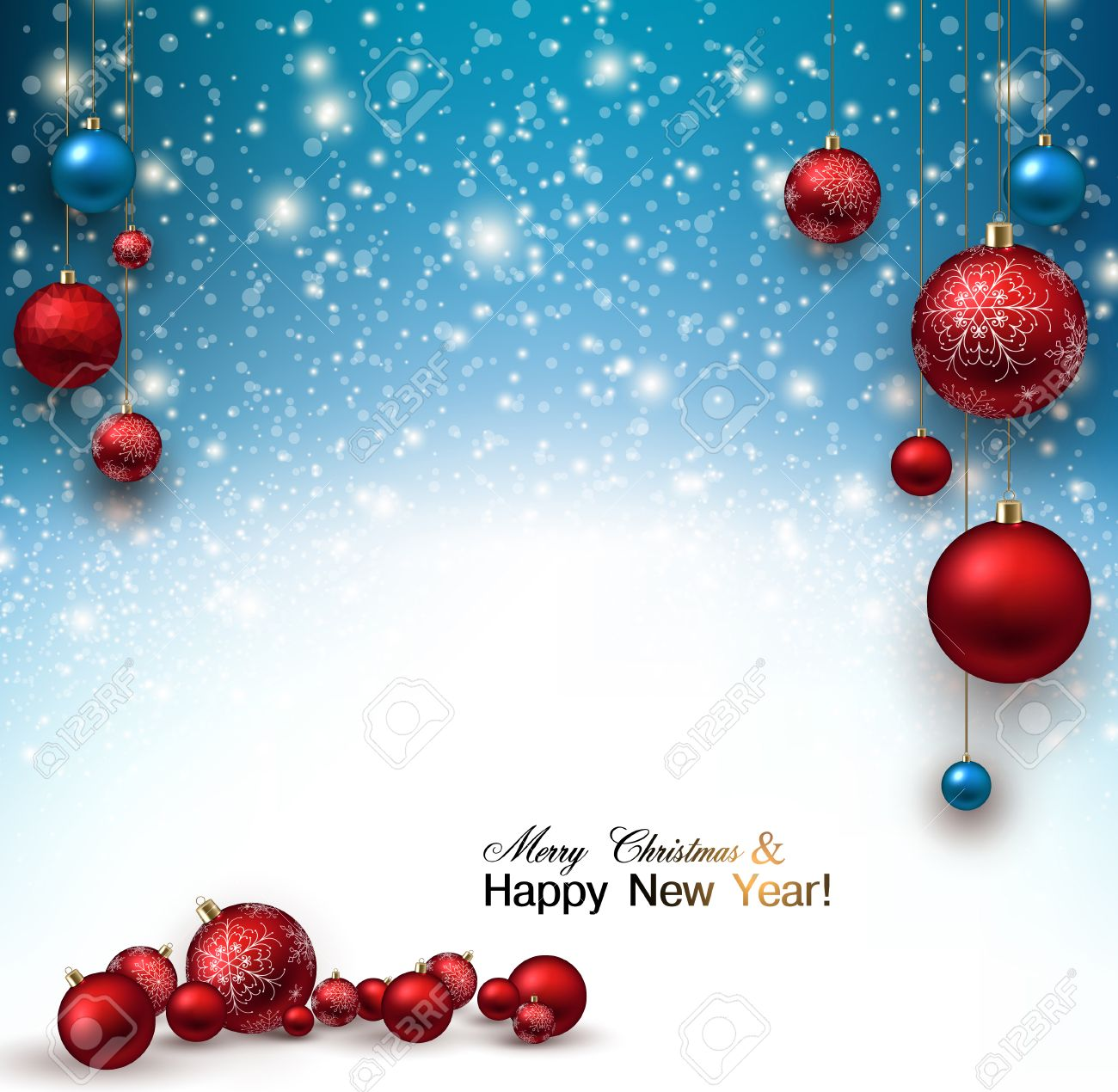 Christmas Background Vector.Christmas Background With Red Christmas Balls And Snow For Xmas