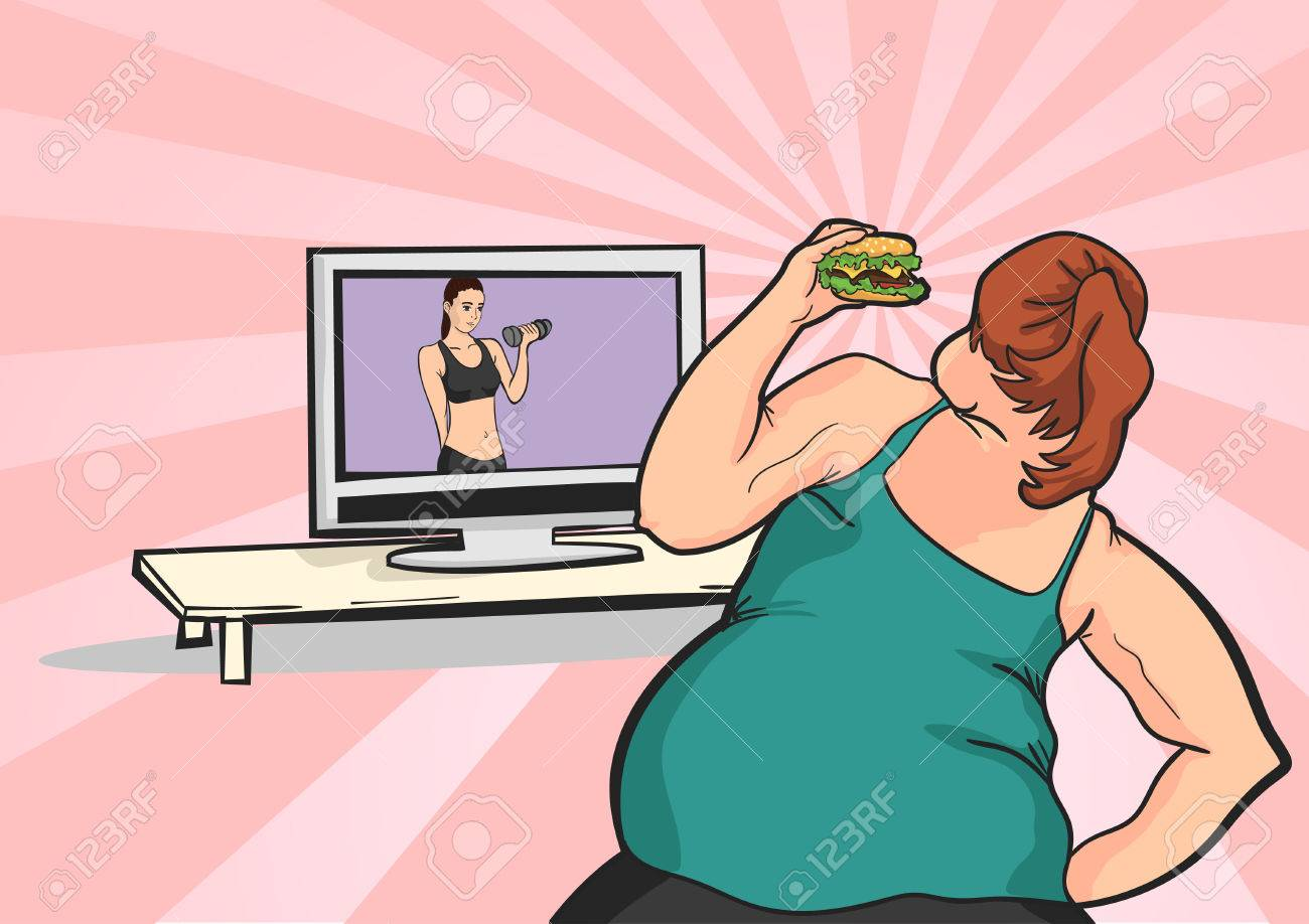 fat young girl wants to lose weight in front of TV with a meal - 60164095