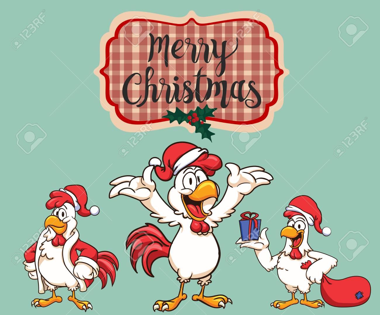Nouvel An 2017 Le Coq Comme Père Noël Joyeux Noël Illustration Vectorielle De Noël Personnages De Dessins Animés