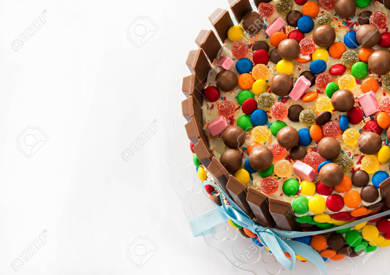 Pinata Cake Multicolored Candies Stuffed Birthday Cake With Stock