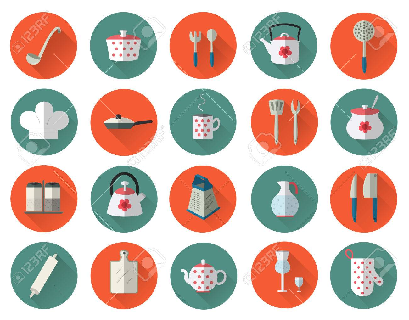 Kitchen Utensils And Cookware Flat Icons Set, Cooking Tools ...