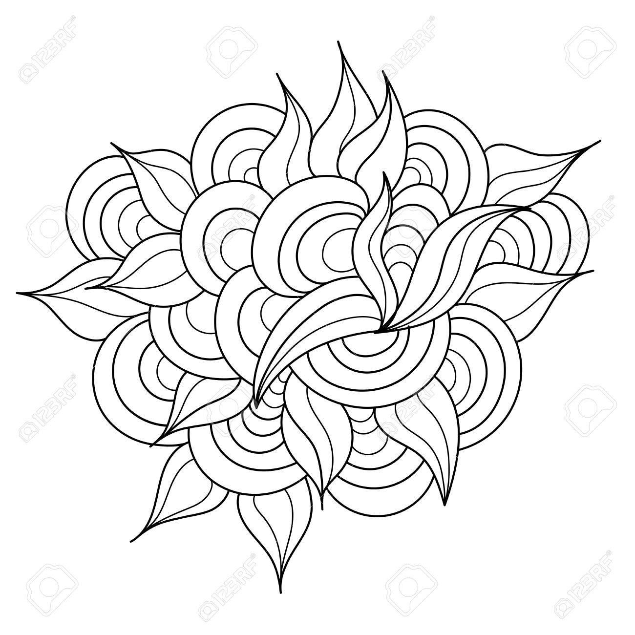 Hand Gezeichnet Zentangle Element. Schwarzweiss-Gekritzel-Muster Für ...