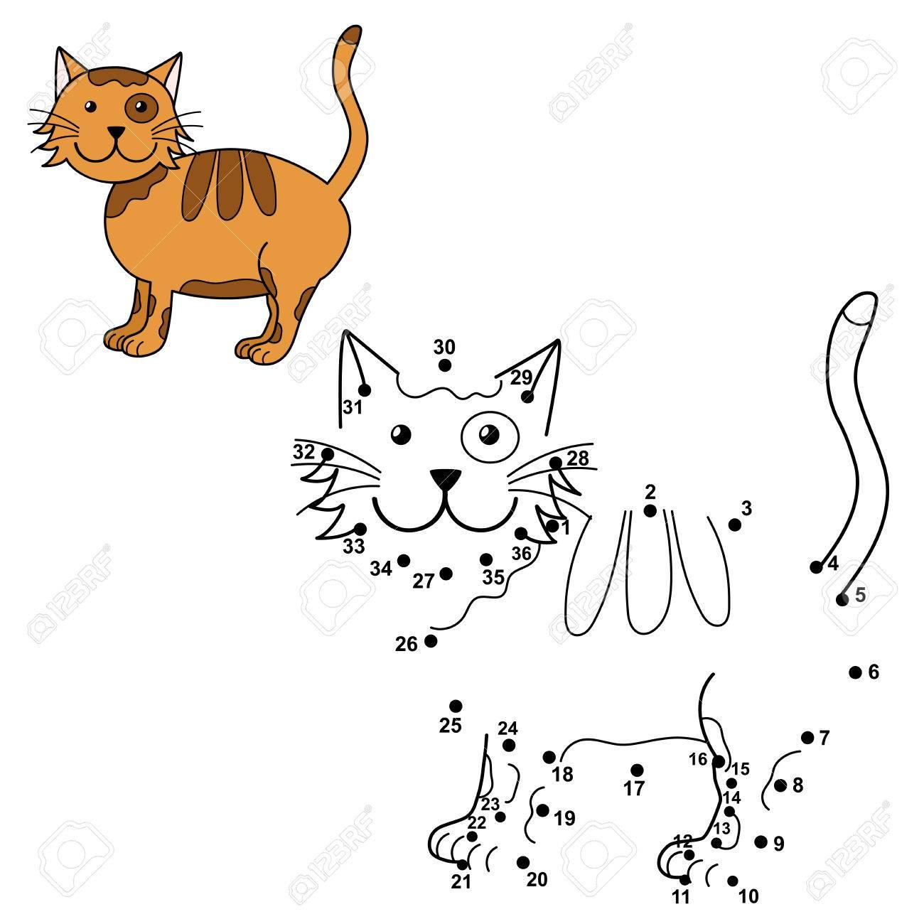Conectar Los Puntos Para Dibujar El Gato Lindo Y Colorearlo. Números ...