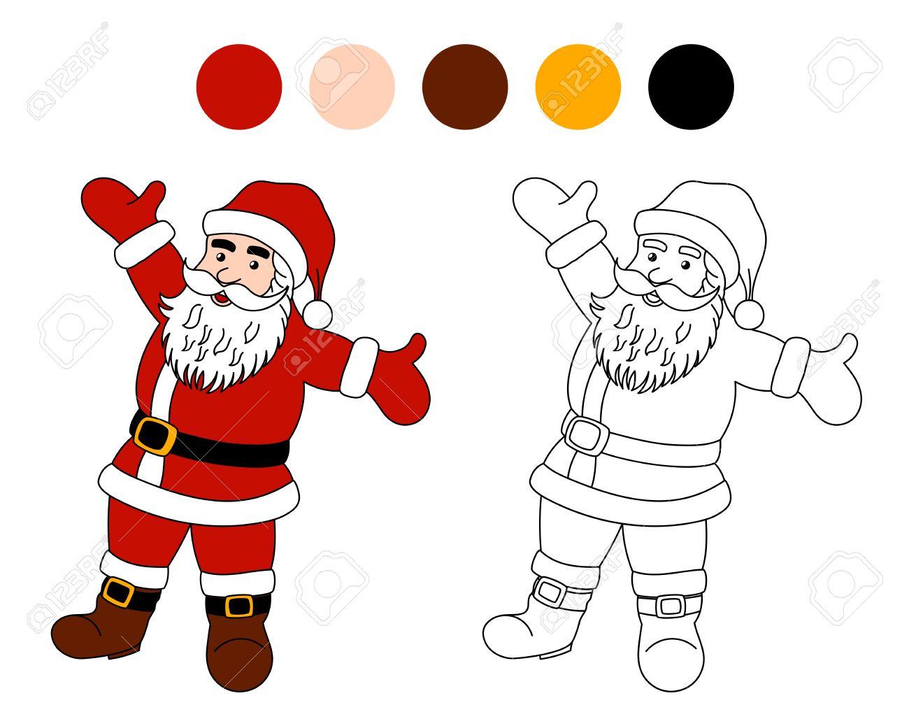 Libro Para Colorear: Santa Claus. Tema De Navidad Para Niños ...