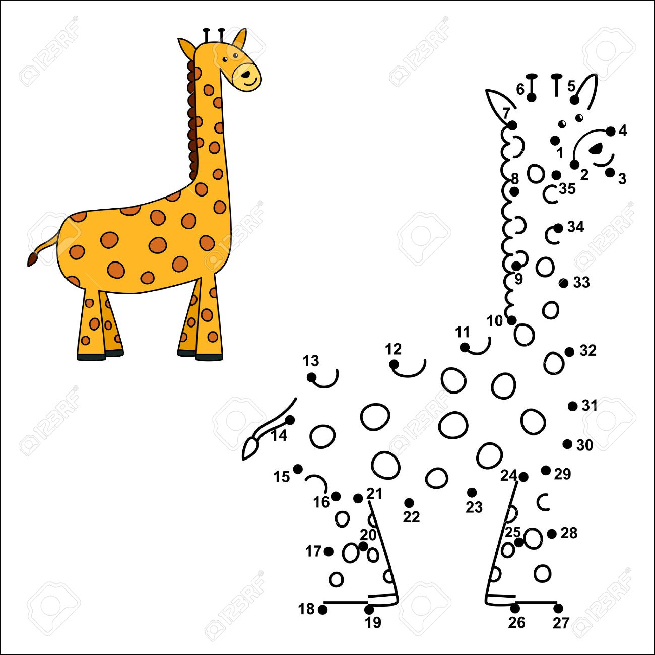 connect the dots to draw the cute giraffe and color it