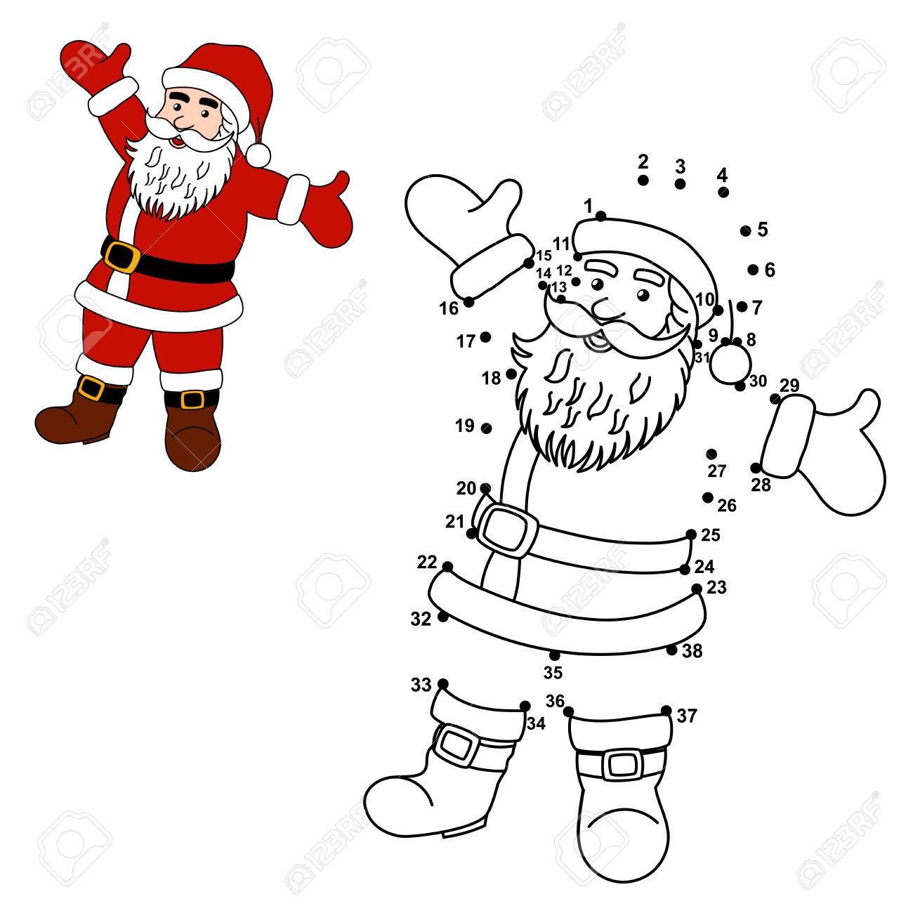 Une Los Puntos Para Dibujar Santa Claus Y Le Colorear. Números ...
