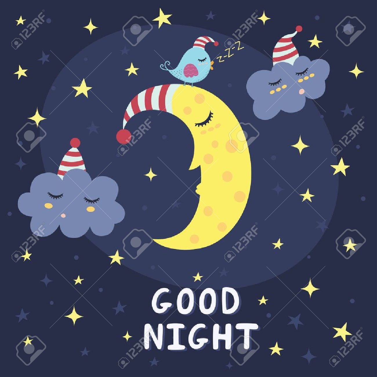 Good night card with the cute sleeping moon, clouds and a bird. Vector illustration - 51326564