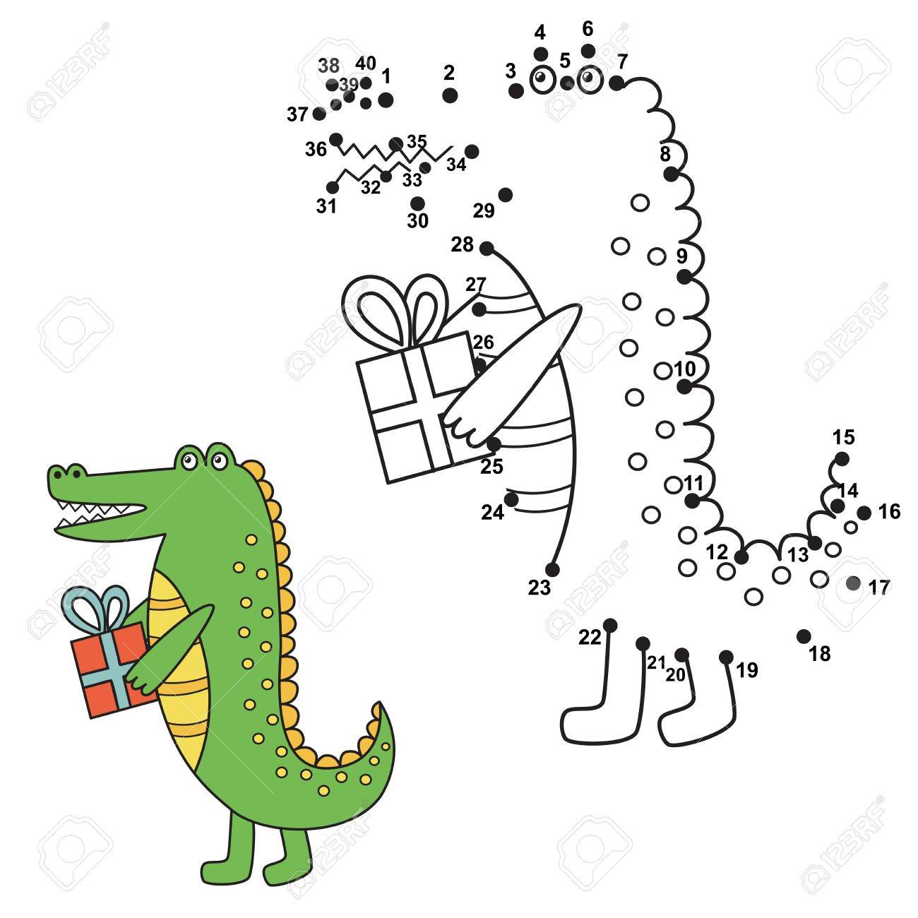 connect the dots to draw the cute alligator and color it