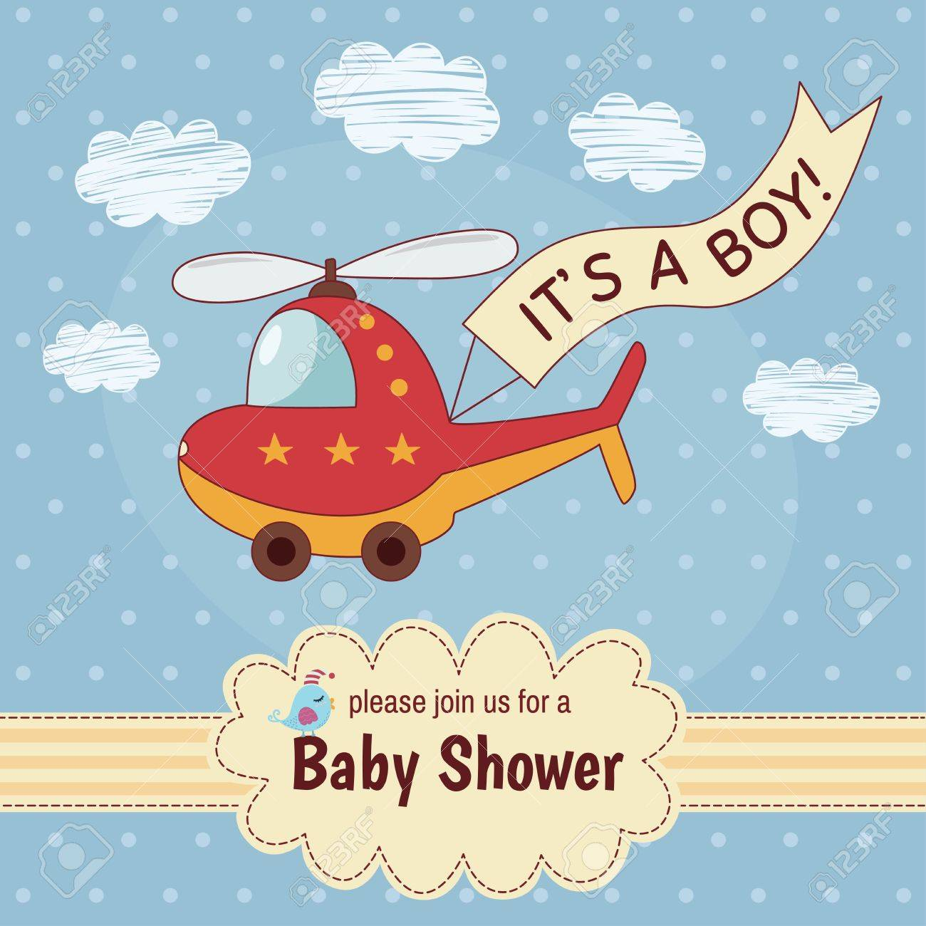 Baby shower invitation card its a boy with a cute helicopter baby shower invitation card filmwisefo