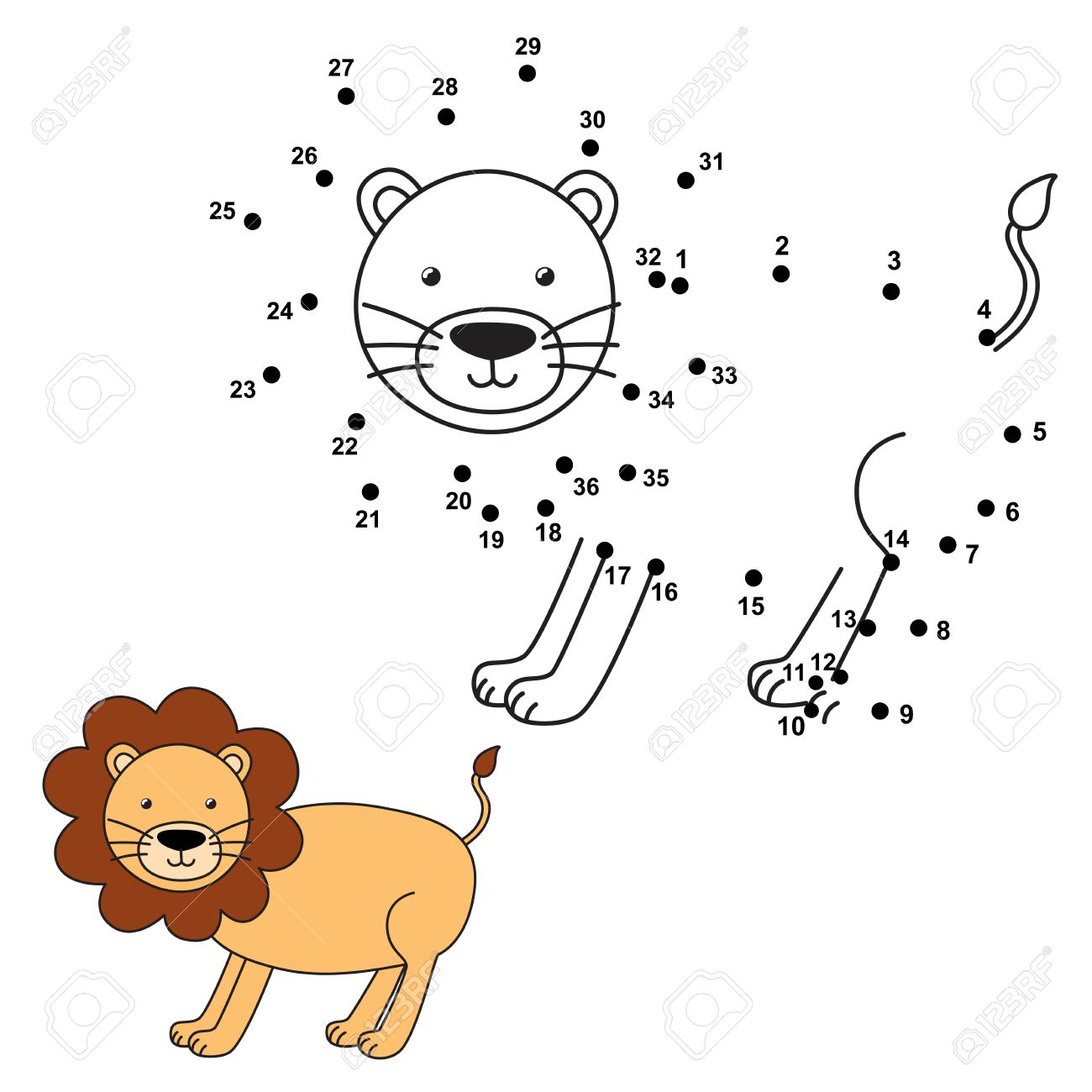 connect the dots to draw the cute lion and color it educational