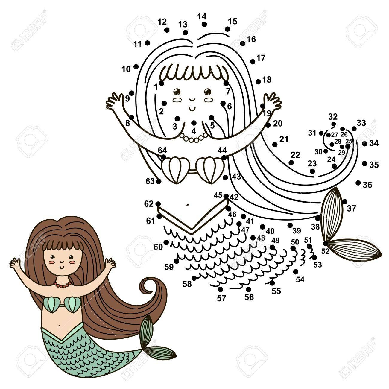 Verbinden Sie Die Punkte, Um Die Nette Meerjungfrau Zu Zeichnen Und ...