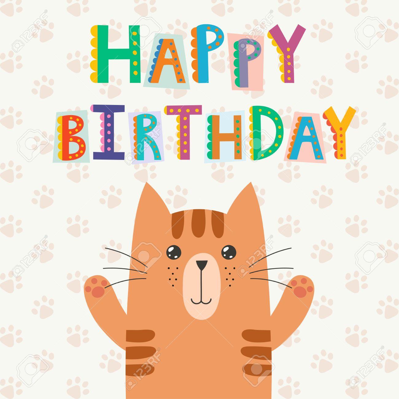 Alles Gute Zum Geburtstag Grusskarte Mit Einem Niedlichen Katze Und