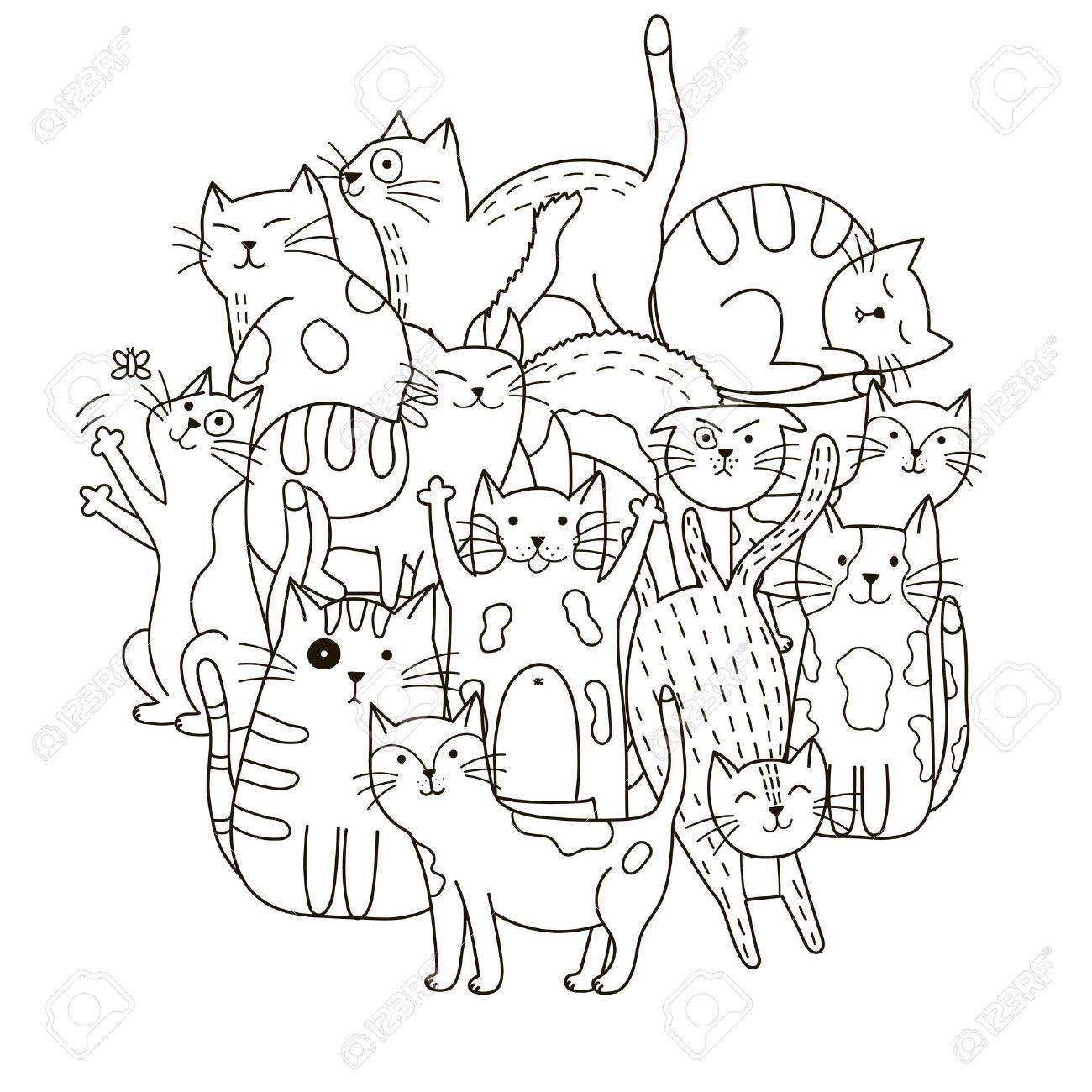 塗り絵のかわいい猫サークル形状パターンのイラスト素材ベクタ Image