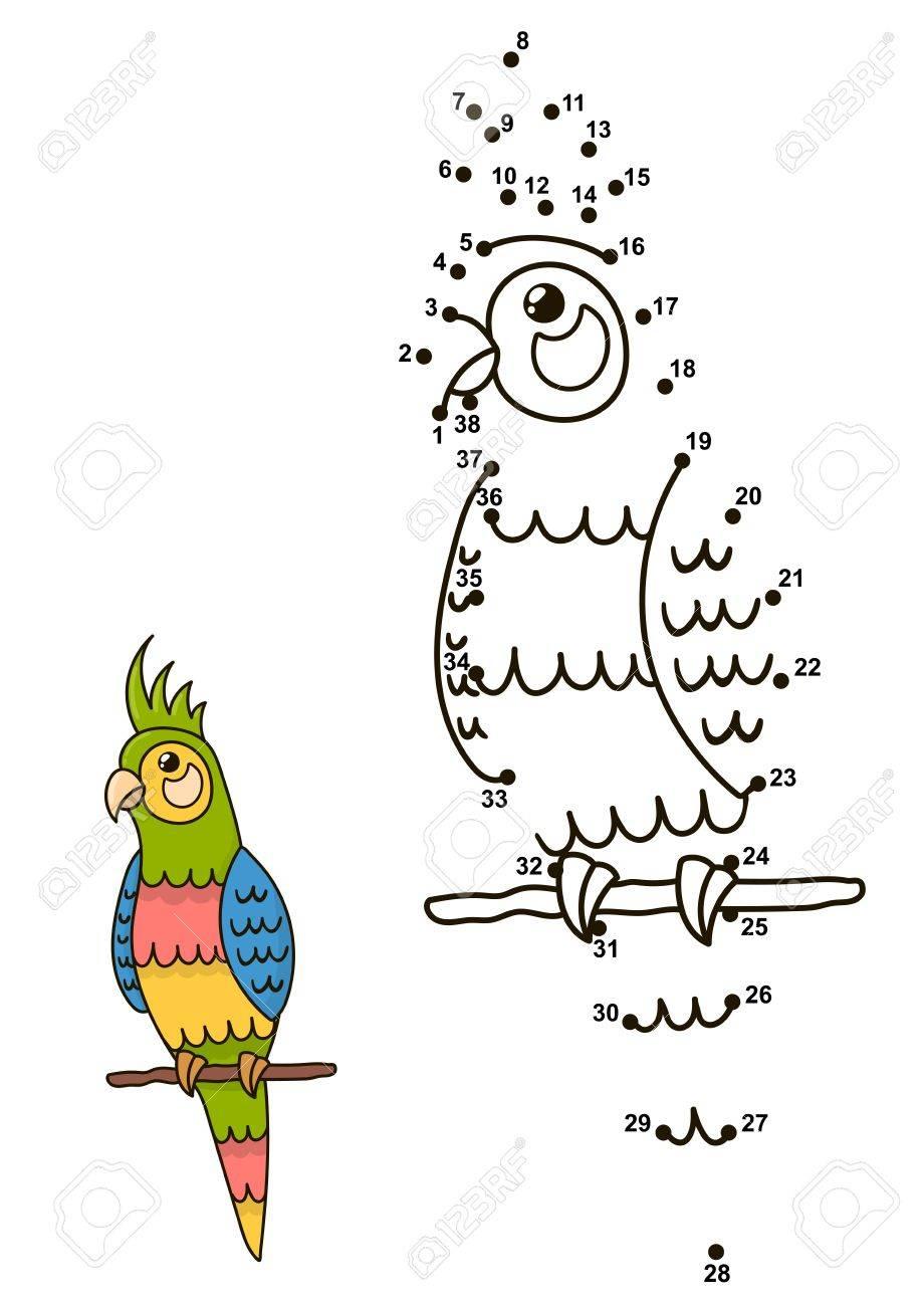Verbinden Sie Die Punkte Um Die Niedlichen Papagei Zu Zeichnen Und