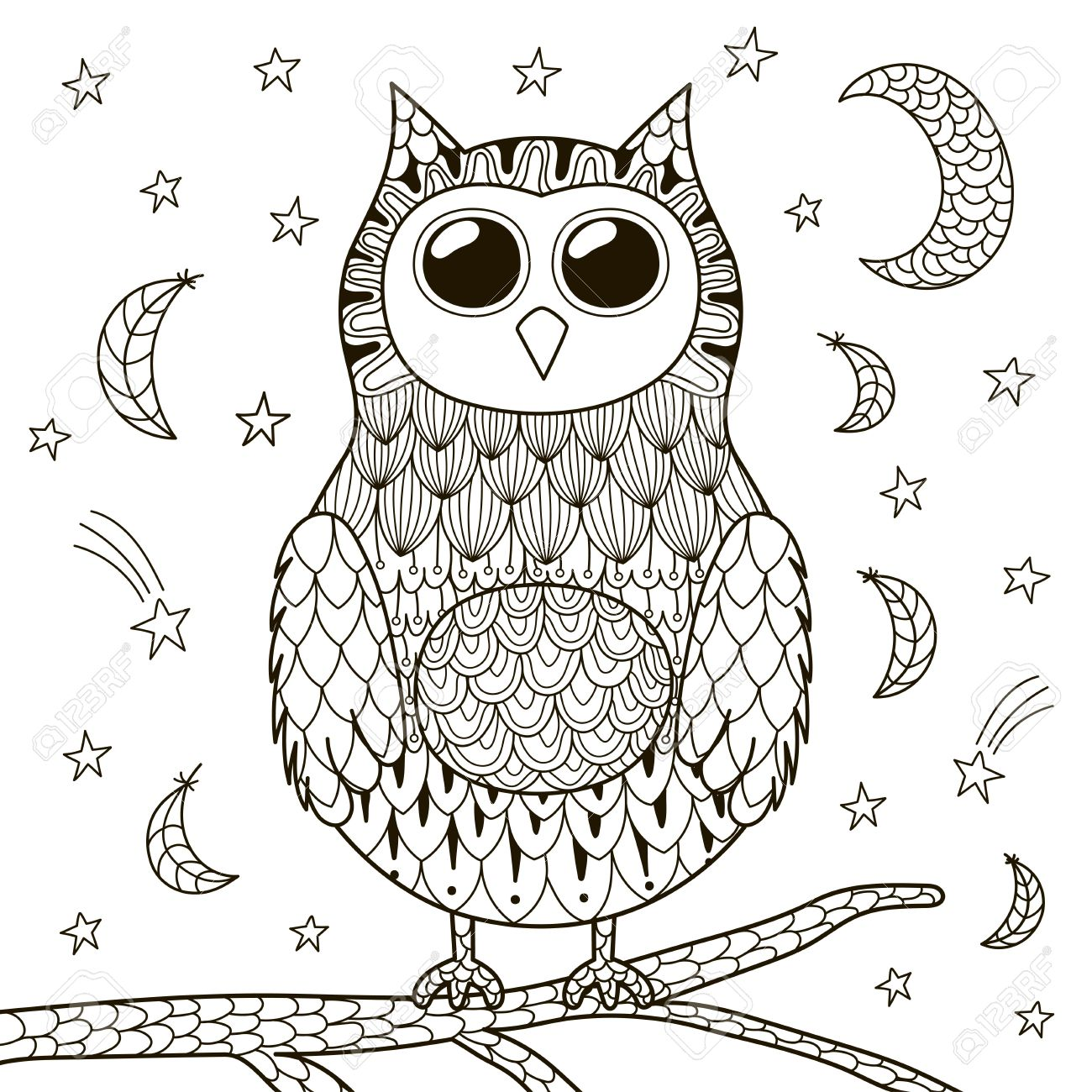 Cute Owl At Night For Coloring Book Black And White Background Stock Vector