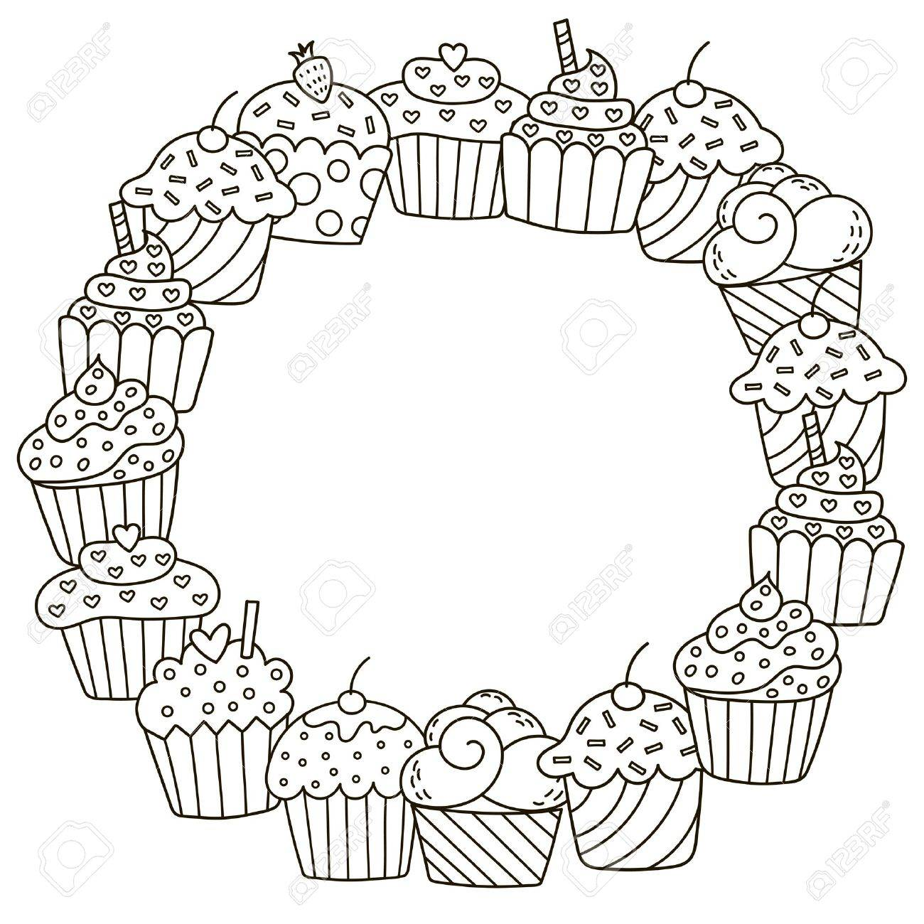 Black And White Frame With Cute Cupcakes For Coloring Book Royalty ...