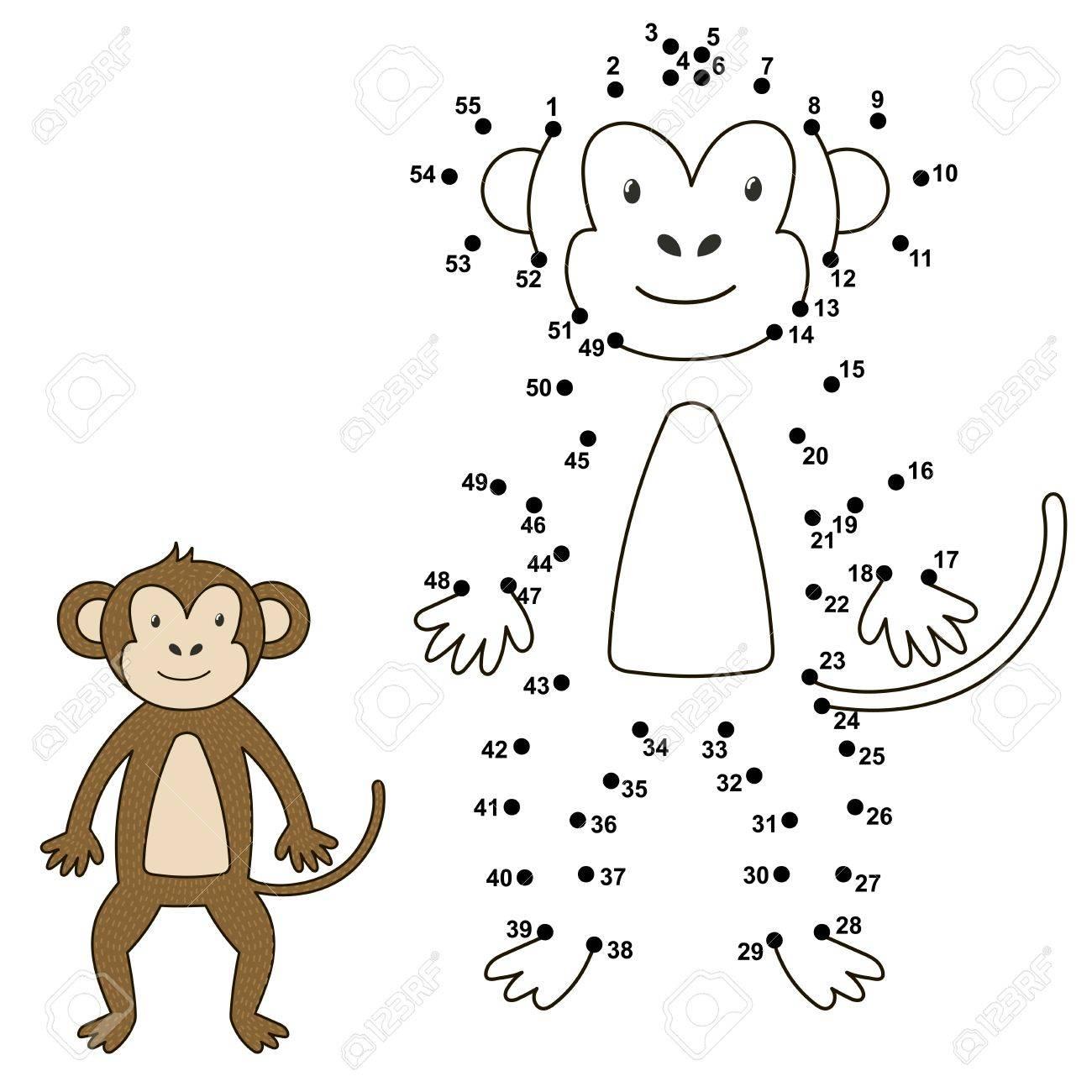 Verbinden Sie Die Punkte, Um Die Niedlichen Affen Zu Zeichnen Und ...