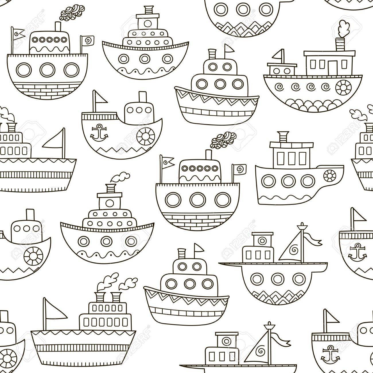 Blanco Y Negro Doodle Barcos Patrón Transparente. Fondo Dibujado ...