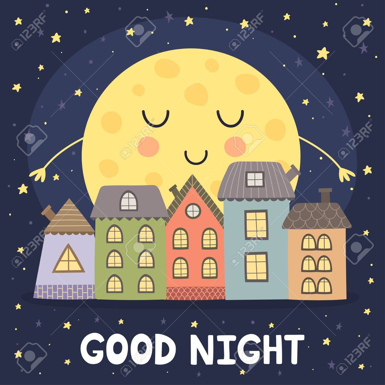Carta Di Buona Notte Con La Luna Addormentata E Paesaggio Della Città Del Fumetto Illustrazione Vettoriale