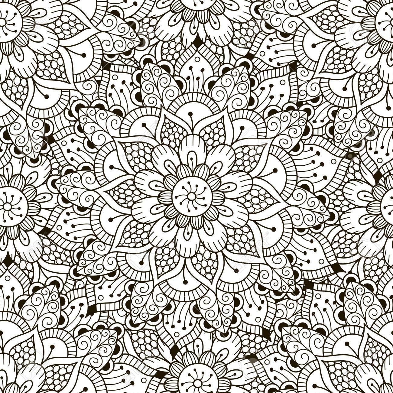 Floral Ornament Nahtlose Muster. Malvorlagen Für Erwachsene. Schwarz ...