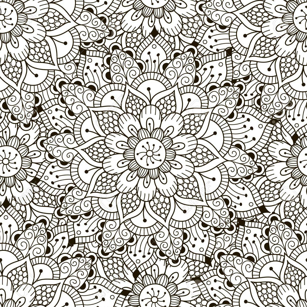 Floral Ornament Seamless Pattern. Coloring Pages For Adults