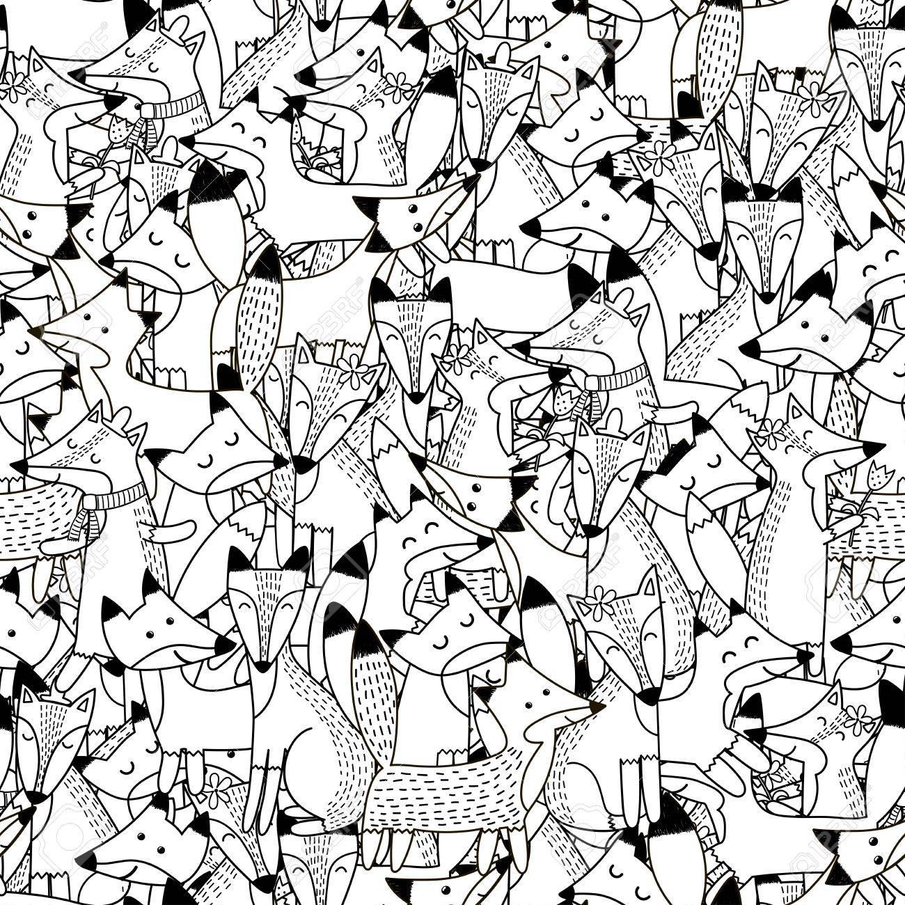 Gekritzel Füchse Nahtlose Muster. Schwarz Und Weiß Niedlichen Füchse ...
