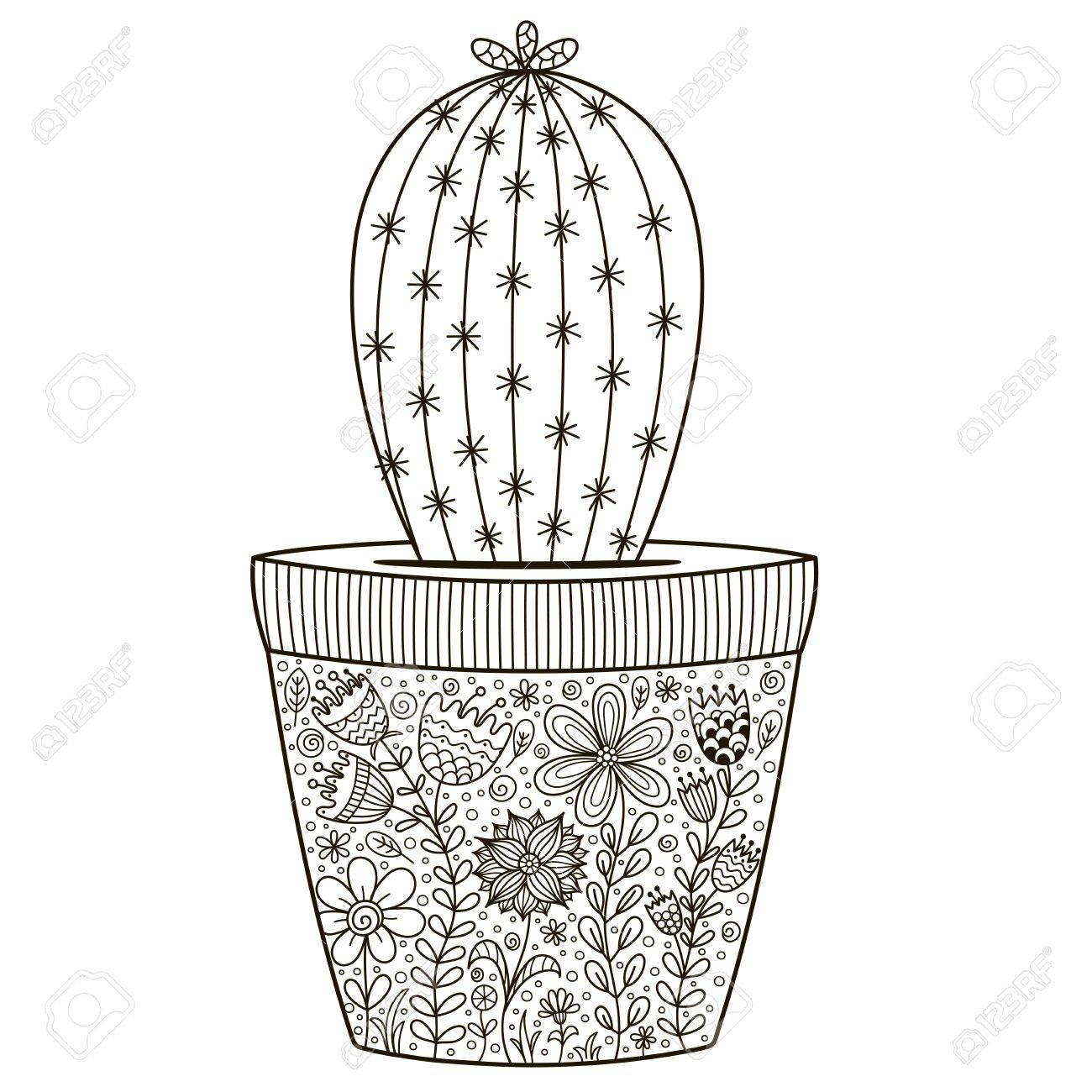 Doodle Cactus In The Pot With Floral Ornament For Coloring Book ...