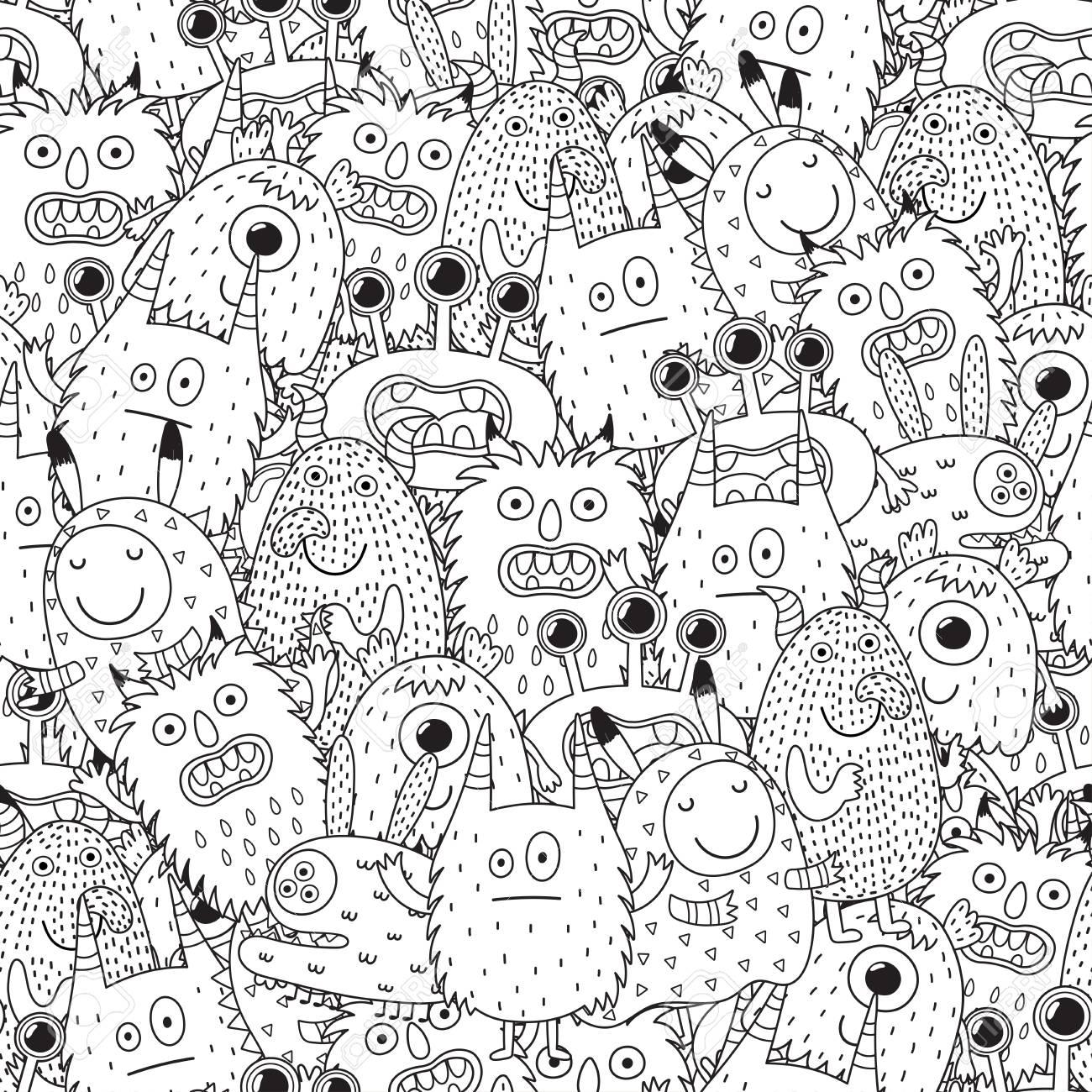 Patrón Transparente De Monstruos Divertidos Para Colorear Fondo Blanco Y Negro Ilustración Vectorial