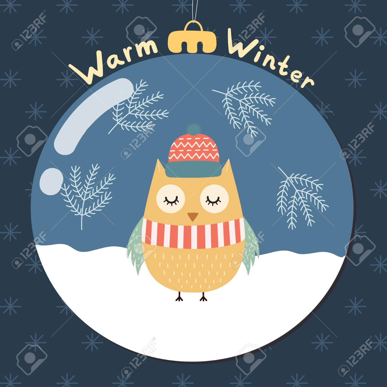 Warm Winter Greeting Card With A Cute Owl Inside A Glass Ball