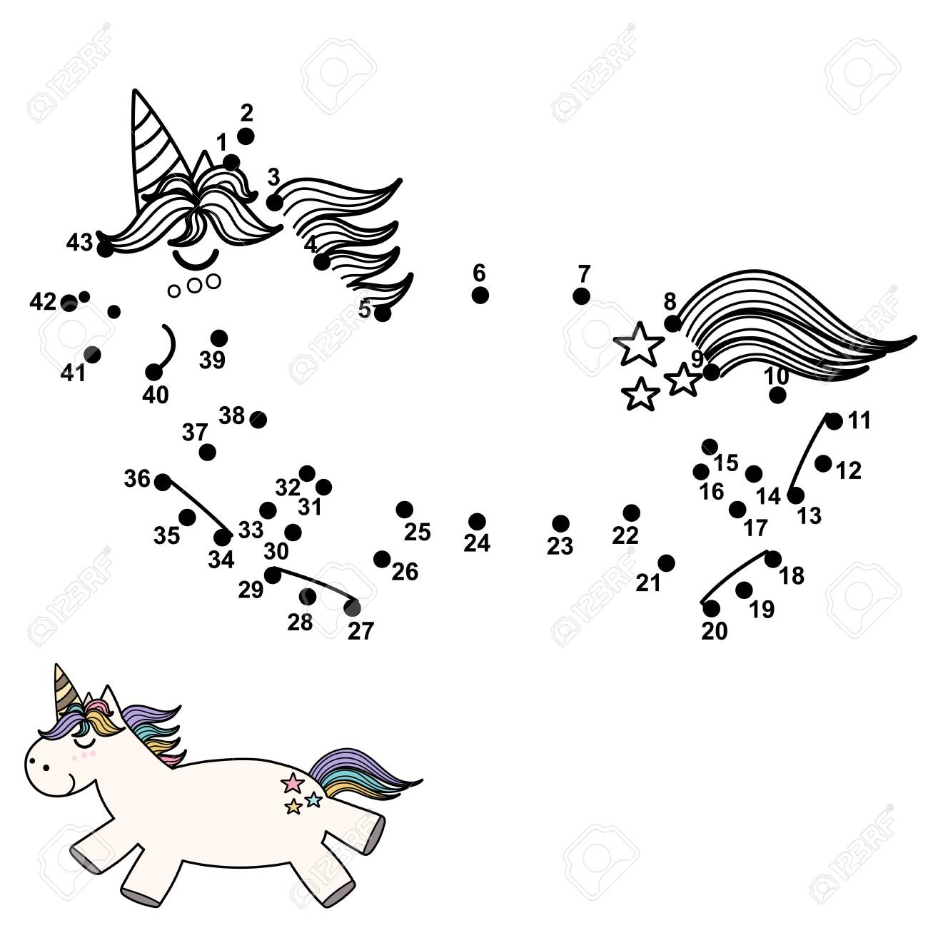 drawing game text Connect The Dots And Draw A Cute Unicorn Numbers Game For Children