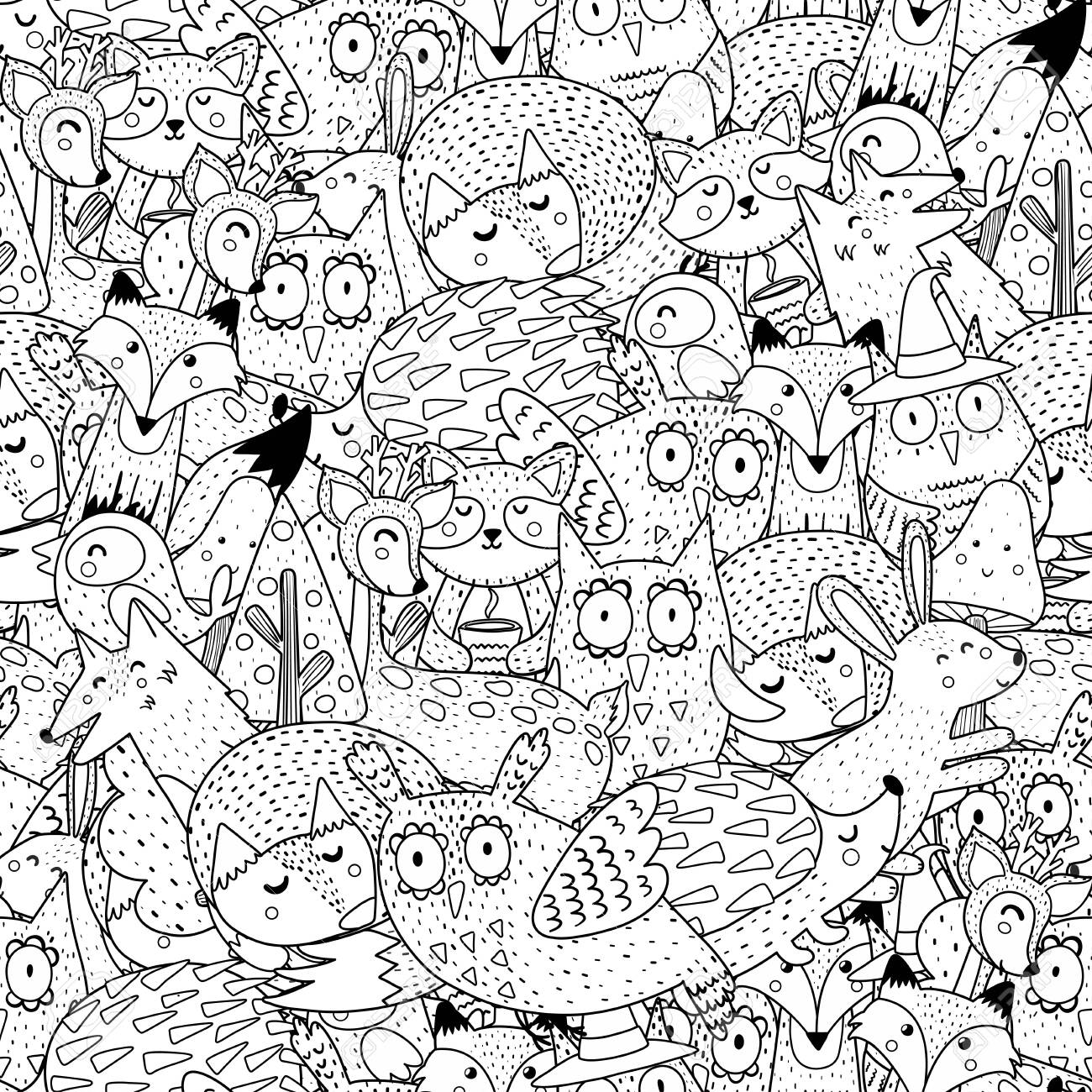 Fantasy Forest Animals Black And White Seamless Pattern Great Royalty Free Cliparts Vectors And Stock Illustration Image 125653351