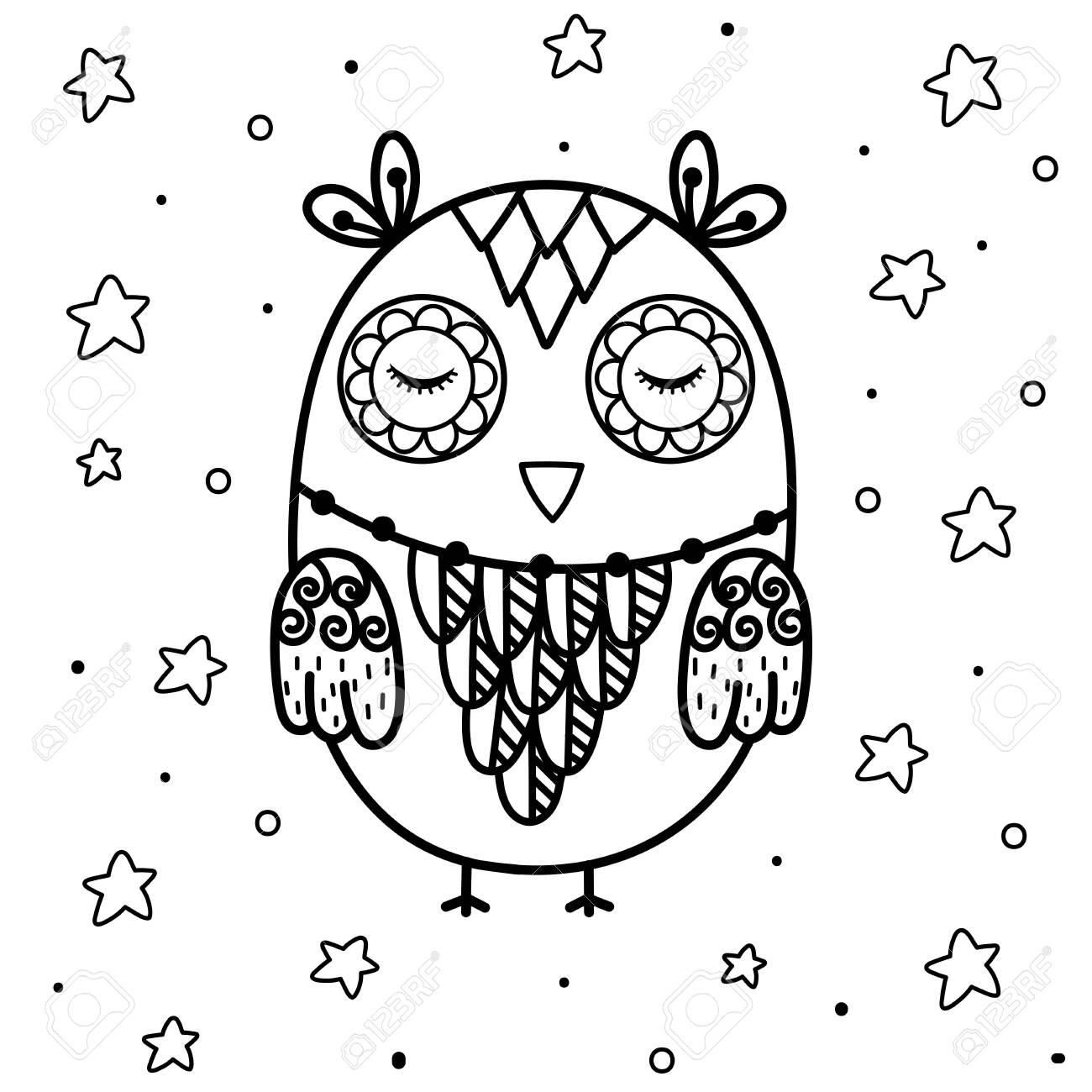 Cute Sleeping Owl Coloring Page Black And White Print With Funny Royalty Free Cliparts Vectors And Stock Illustration Image 157120034