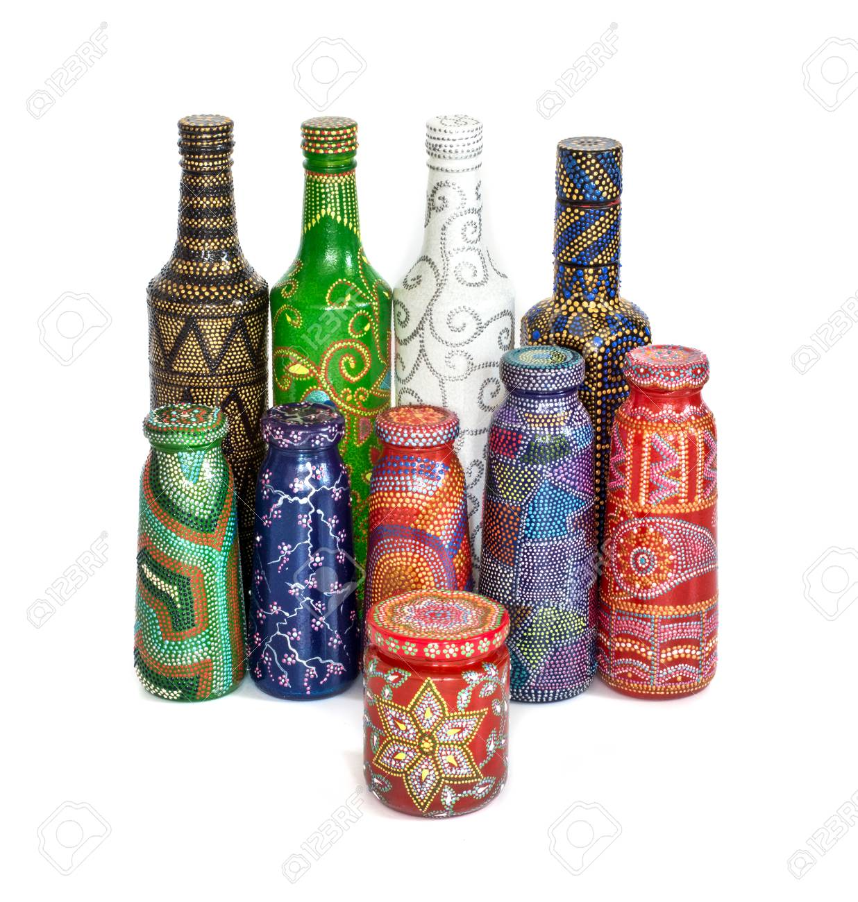 Many Different Bottles Painted Dot Painted On Isolated Background Stock Photo Picture And Royalty Free Image Image 93635835