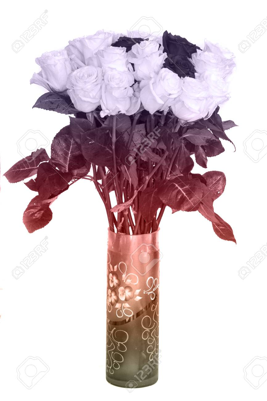 Big Beautiful Bouquet Of Roses Red Blue White And Green Flowers