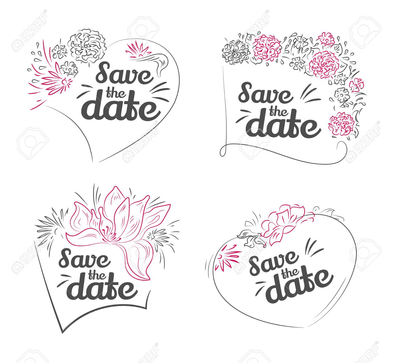Set Of Vector Save The Date Wedding Invitation Valentines Day