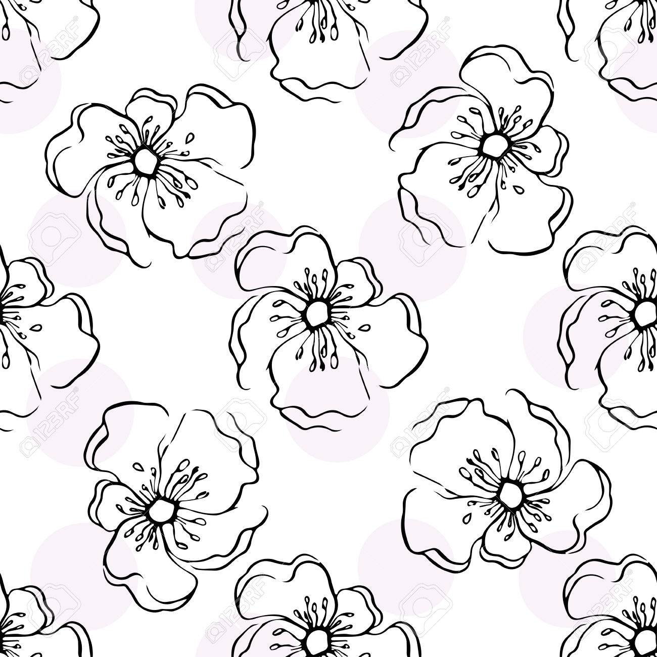 Repeating Modern Floral Background Pattern Seamless Floral