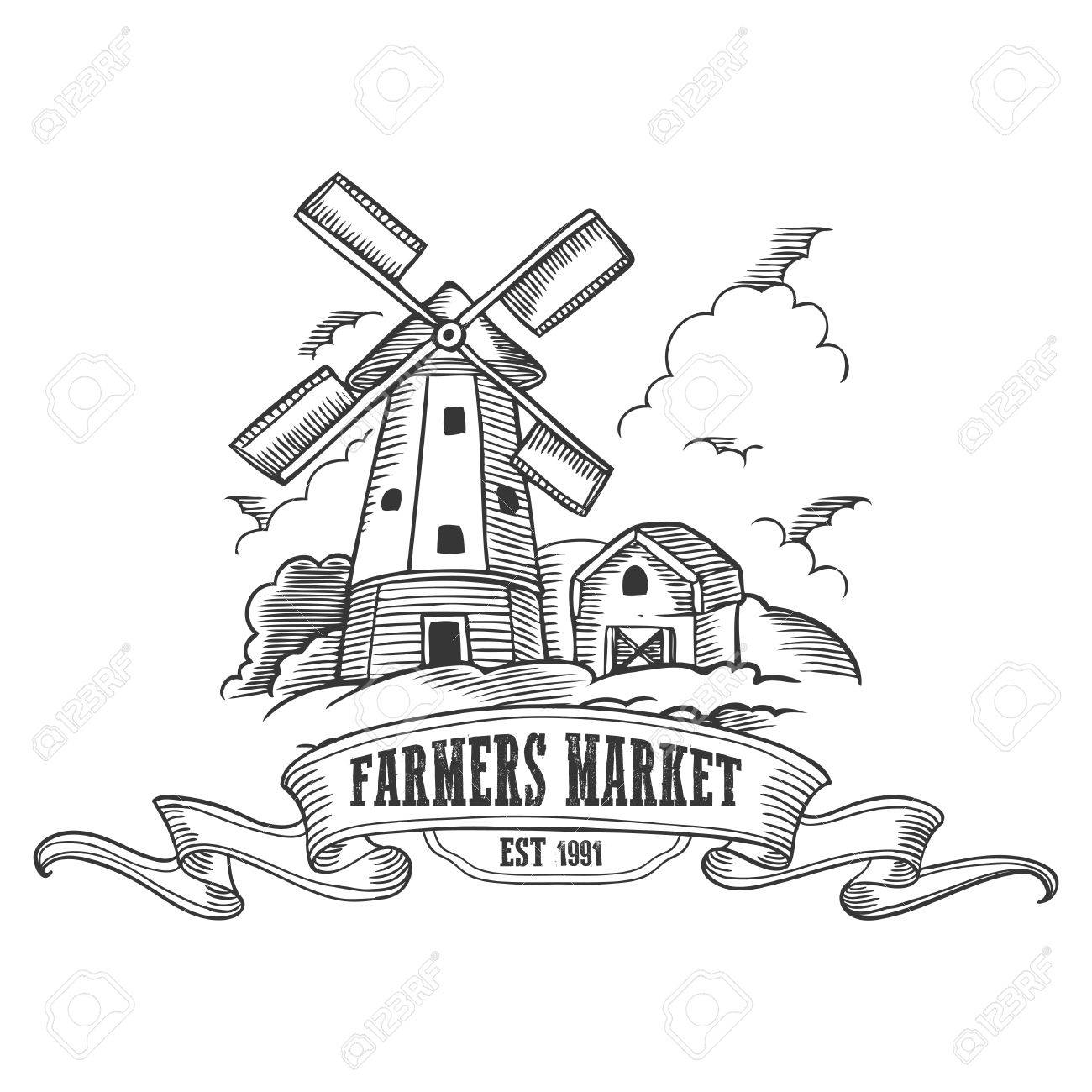 farm windmill drawing. Monochrome Medieval Farm Windmill Vintage Engraving Sign Isolated On White Background. Drawing A