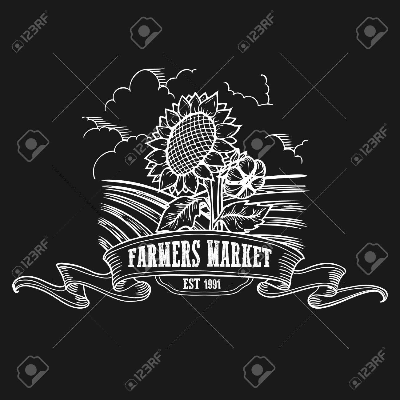Farmers Market Badge. Monochrome Vintage Engraving Fresh Organic ...