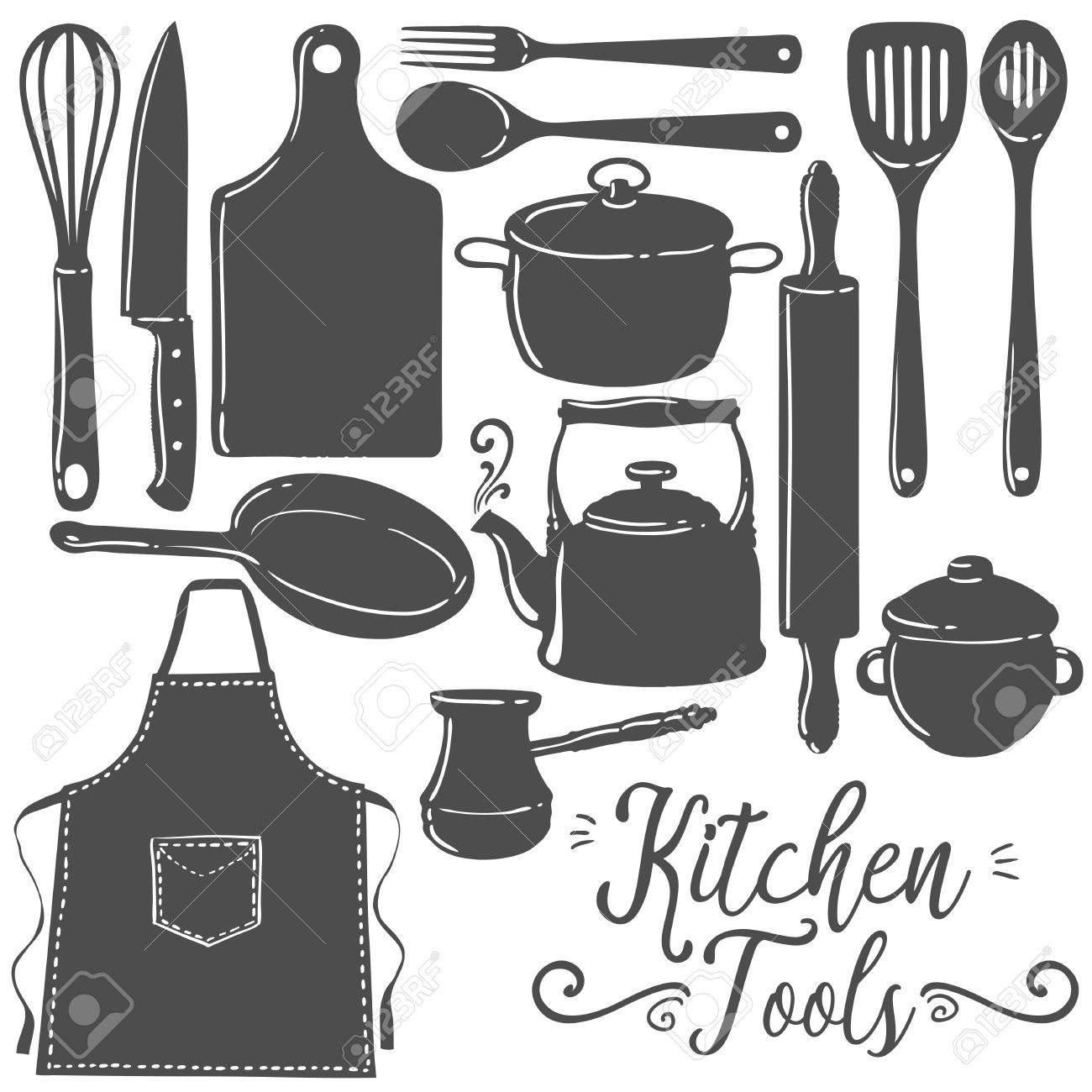 Küchengeräte, Backen, Gebäck Silhouette Flach Vektor-Set. Icon ...